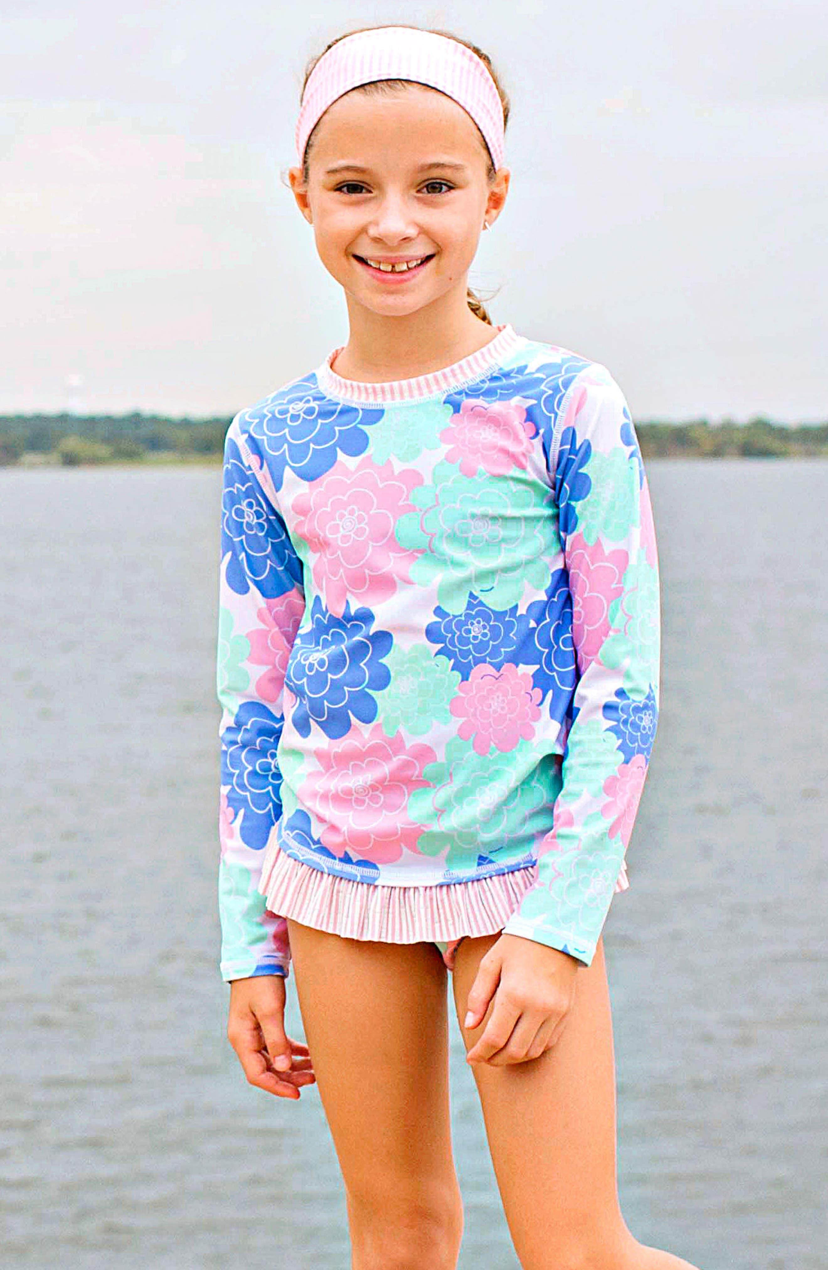 Pastel Petals Two-Piece Rashguard Swimsuit & Head Wrap Set,                         Main,                         color, WHITE
