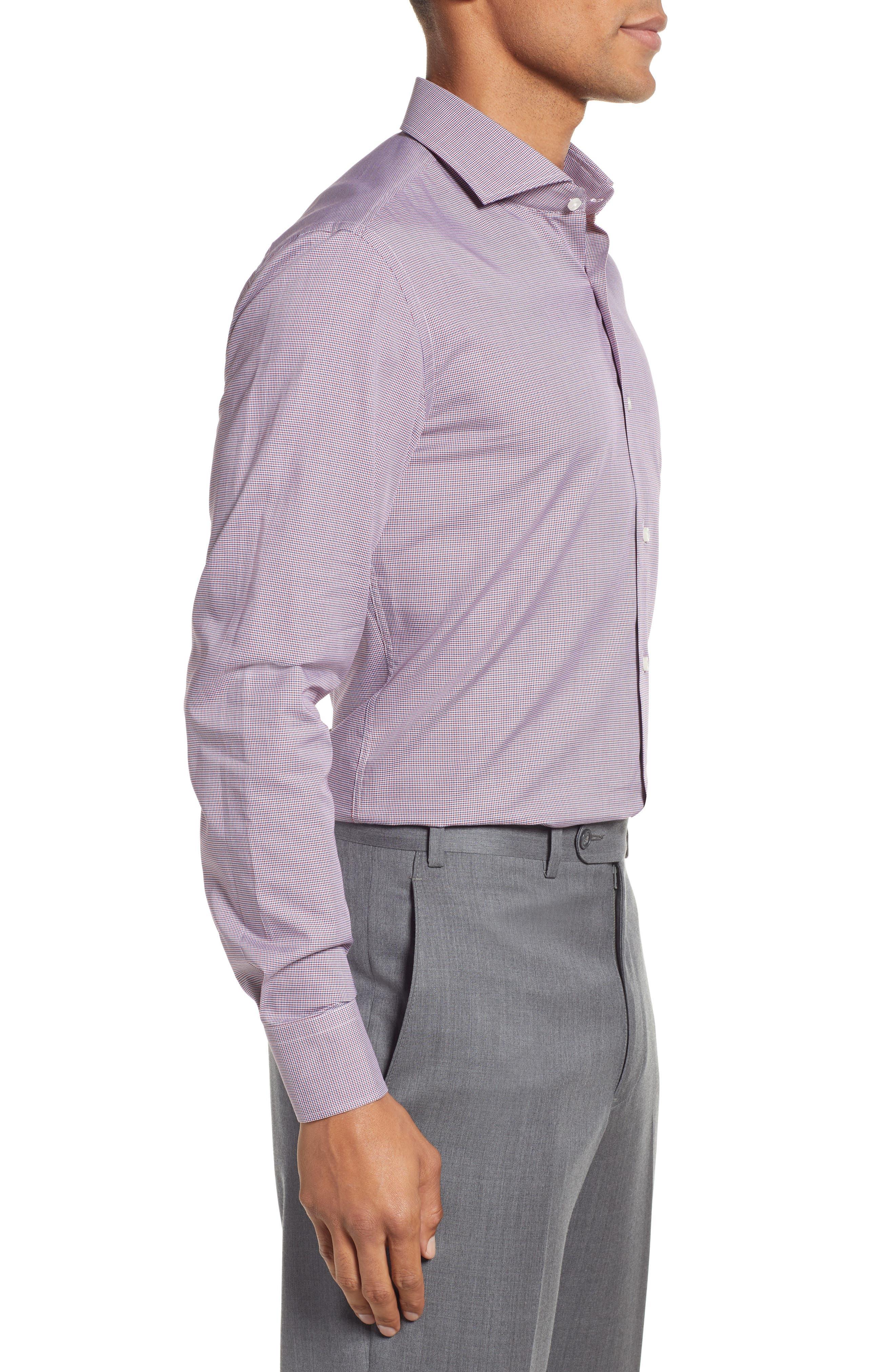 Jason Slim Fit Houndstooth Dress Shirt,                             Alternate thumbnail 4, color,                             RED