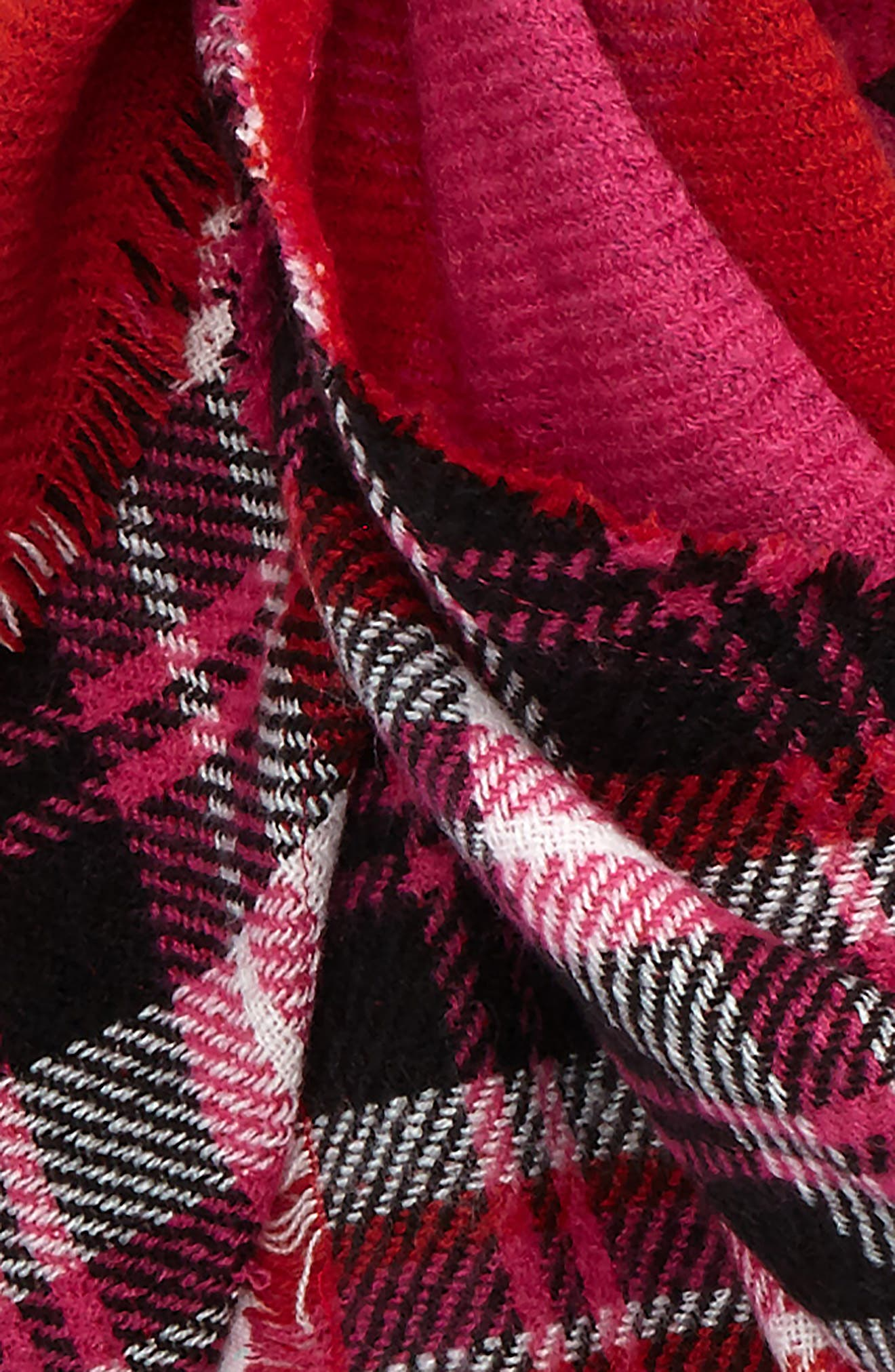 Reversible Plaid Triangle Scarf,                             Alternate thumbnail 3, color,                             651
