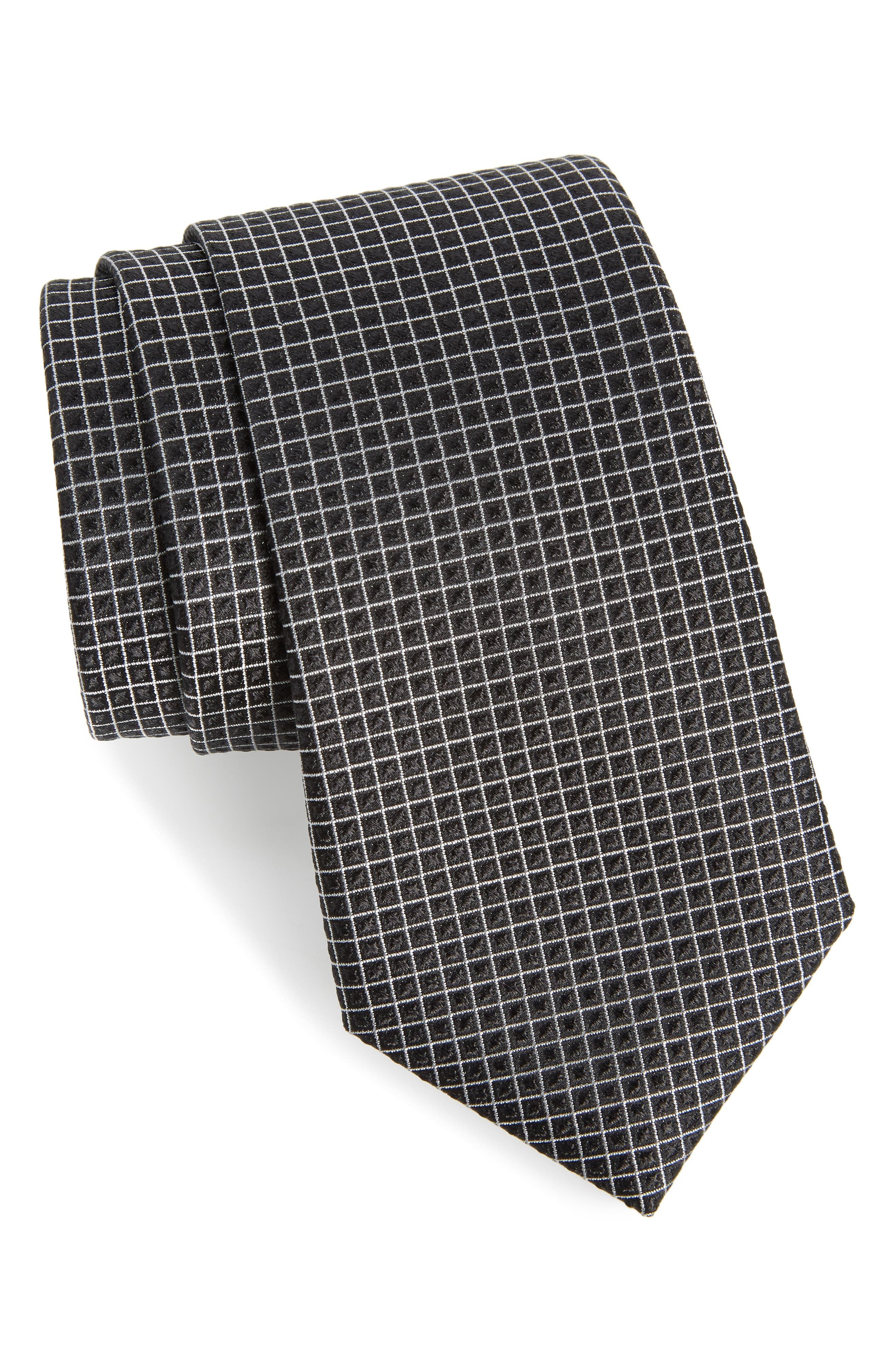 Jallot Check Silk Tie,                             Main thumbnail 1, color,                             001
