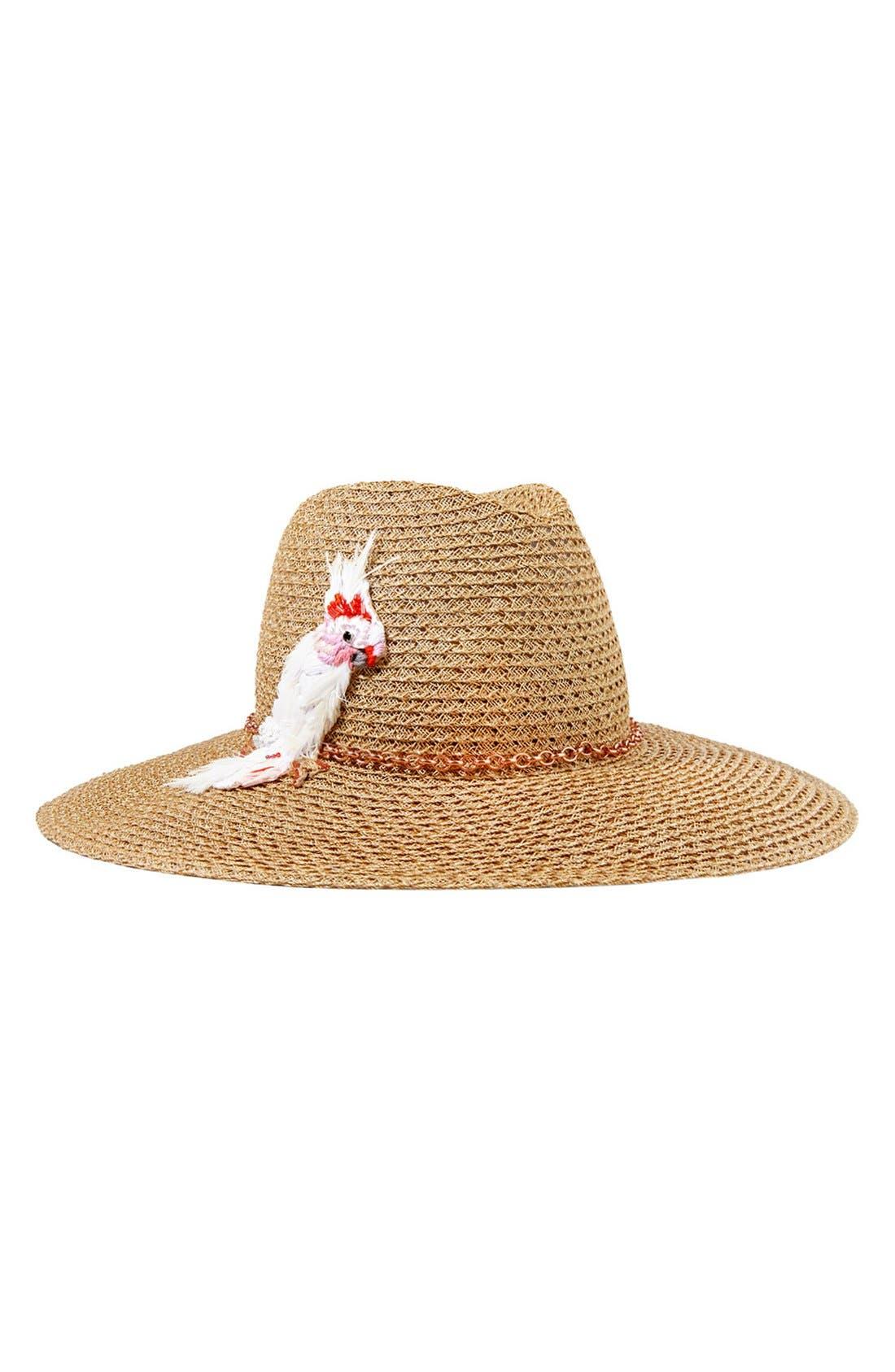 'Emmanuelle' Cockatoo Ornament Straw Hat,                             Alternate thumbnail 2, color,                             250