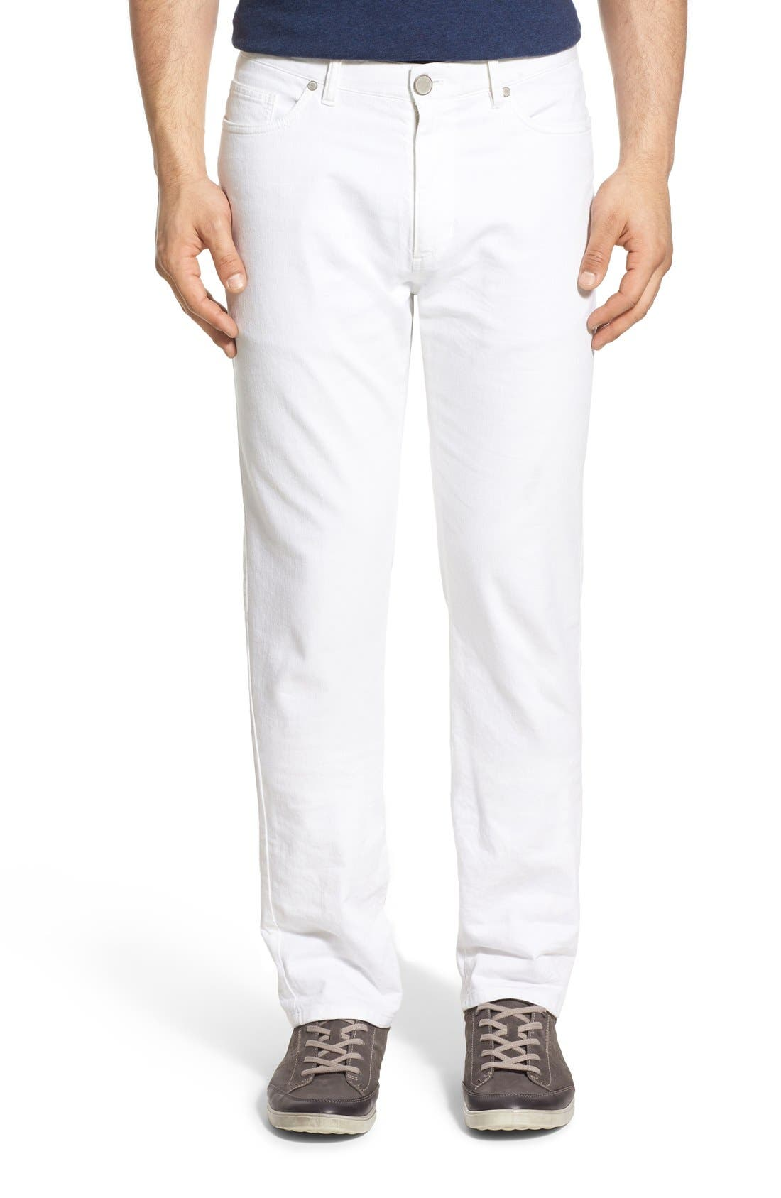 Relaxed Fit Whitewash Denim Jeans, Main, color, 100