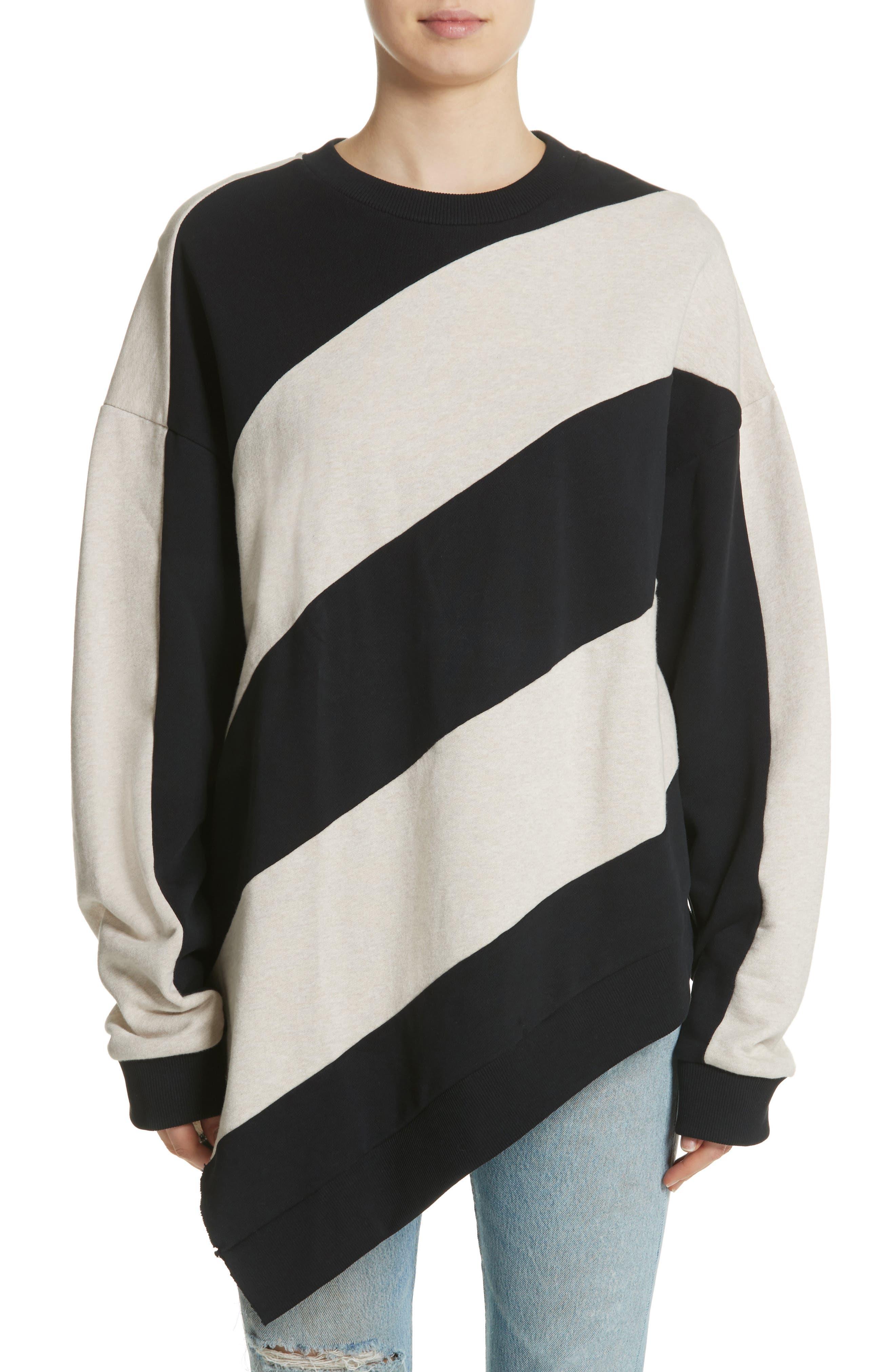 Marques'Almeida Asymmetrical Stripe Sweatshirt,                             Main thumbnail 1, color,                             250