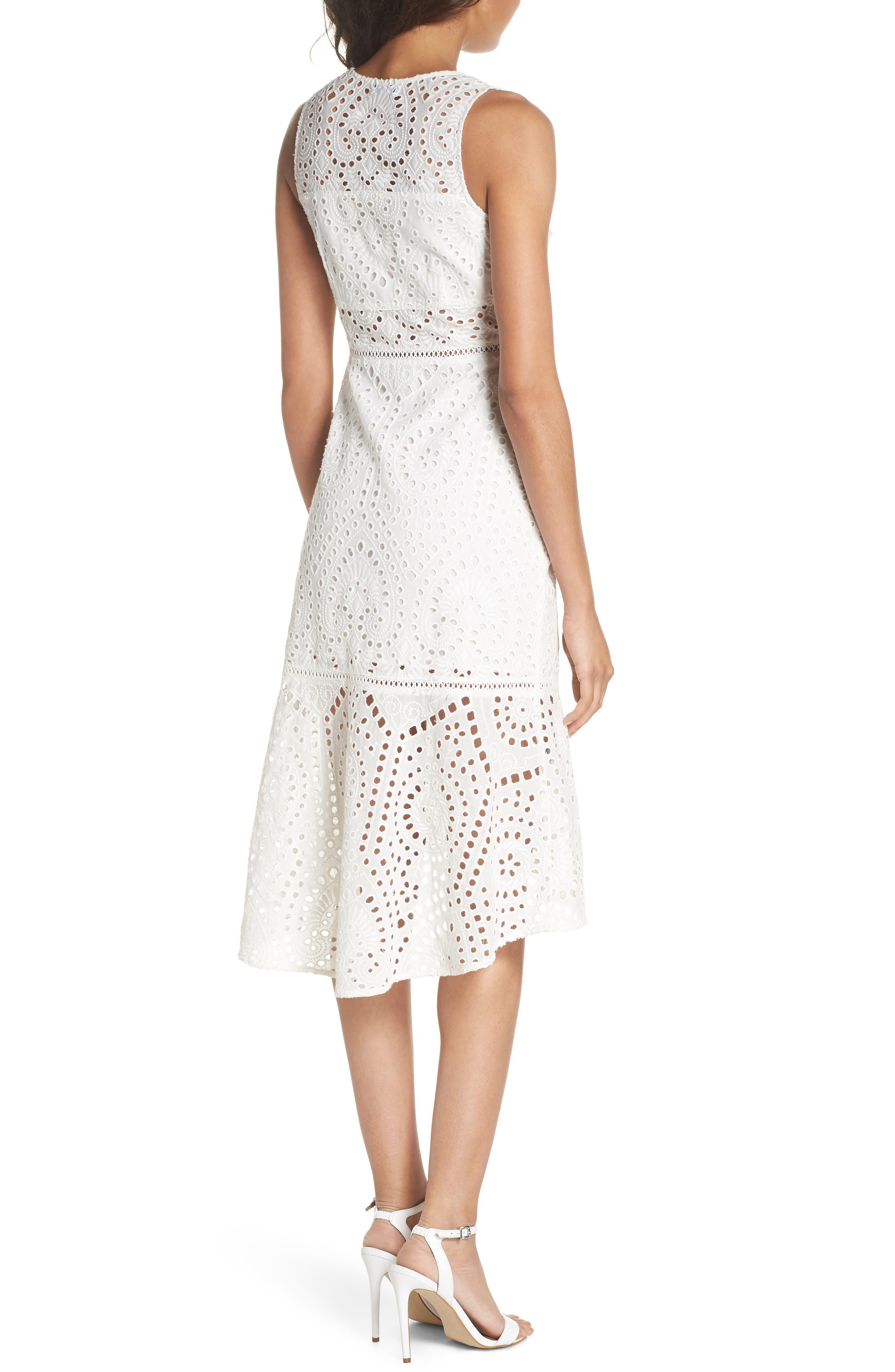 Selma Sleeveless Eyelet Dress,                             Alternate thumbnail 2, color,                             WHITE