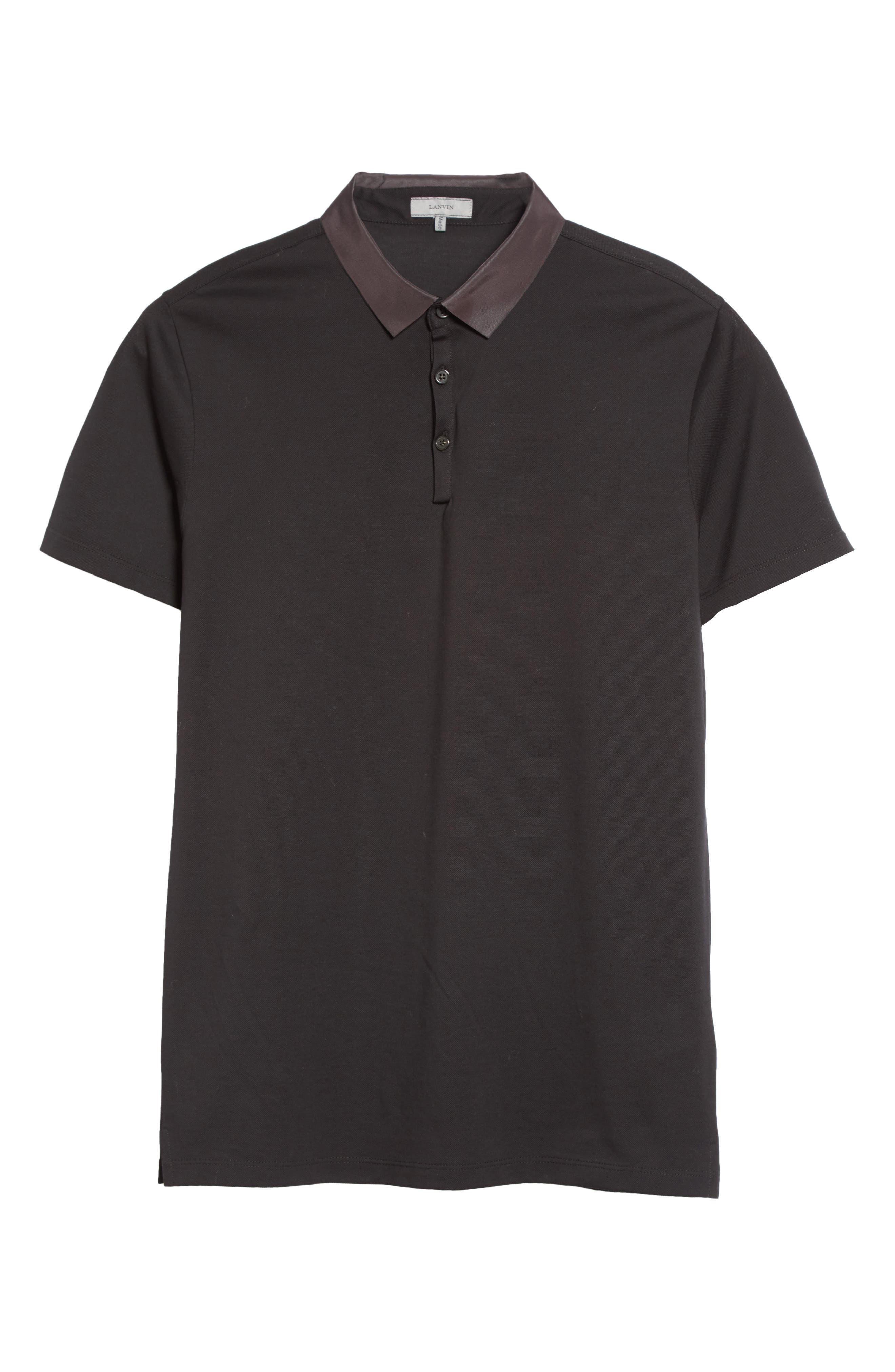 Grosgrain Collar Polo,                             Alternate thumbnail 6, color,                             BLACK