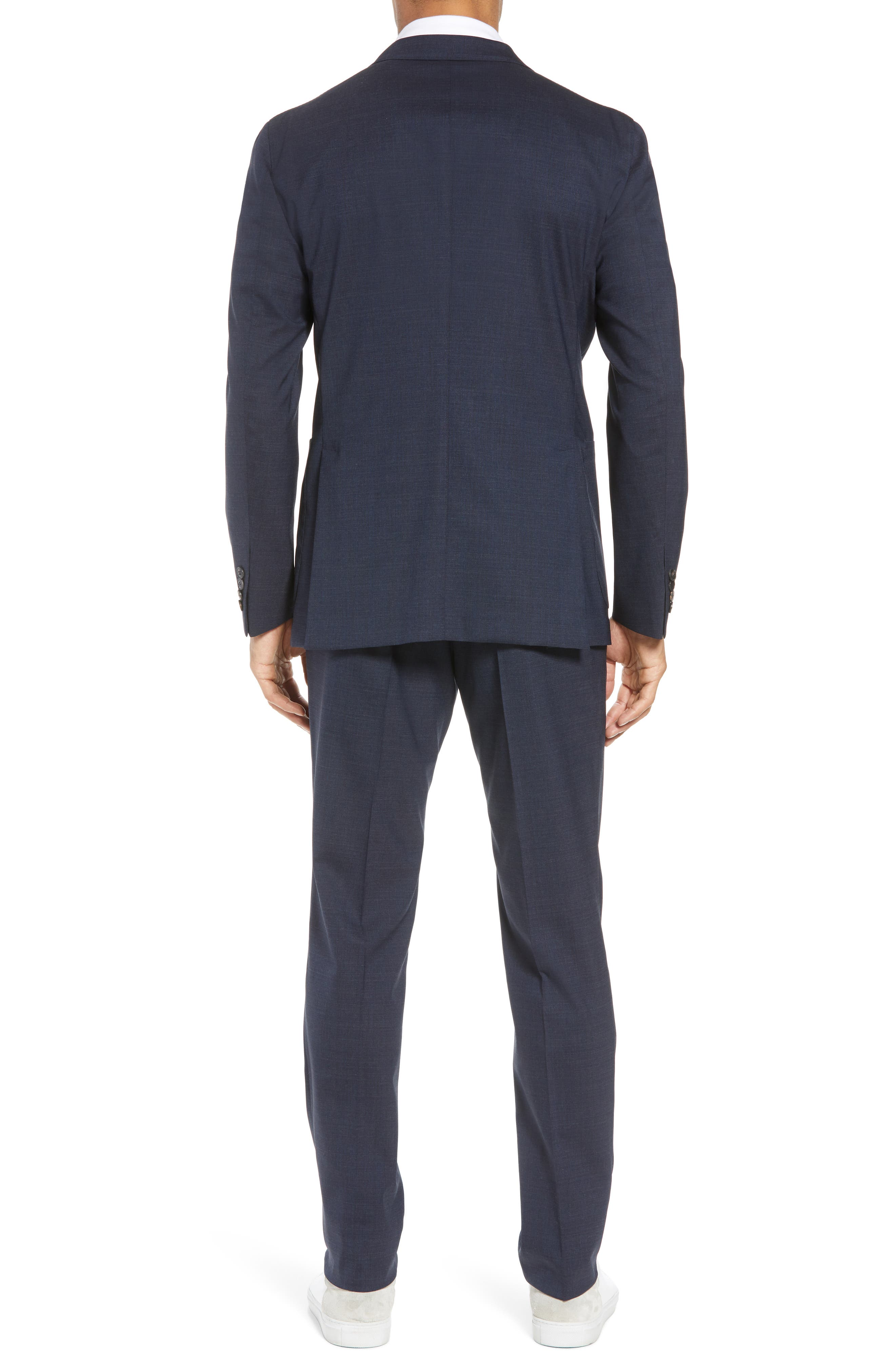 Trim Fit Stretch Solid Wool Suit,                             Alternate thumbnail 2, color,                             NAVY