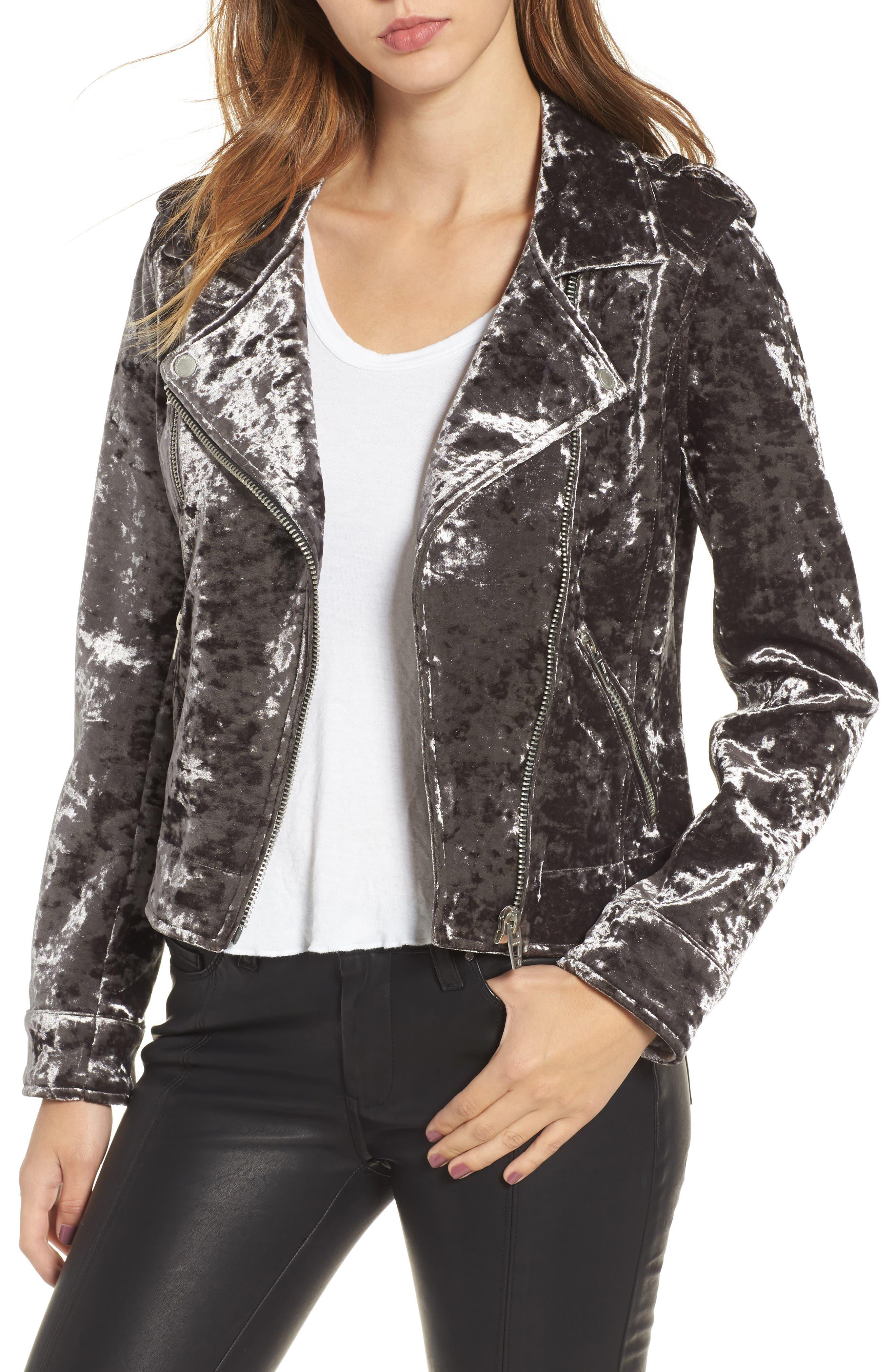 Bonded Velvet Moto Jacket,                         Main,                         color, 020