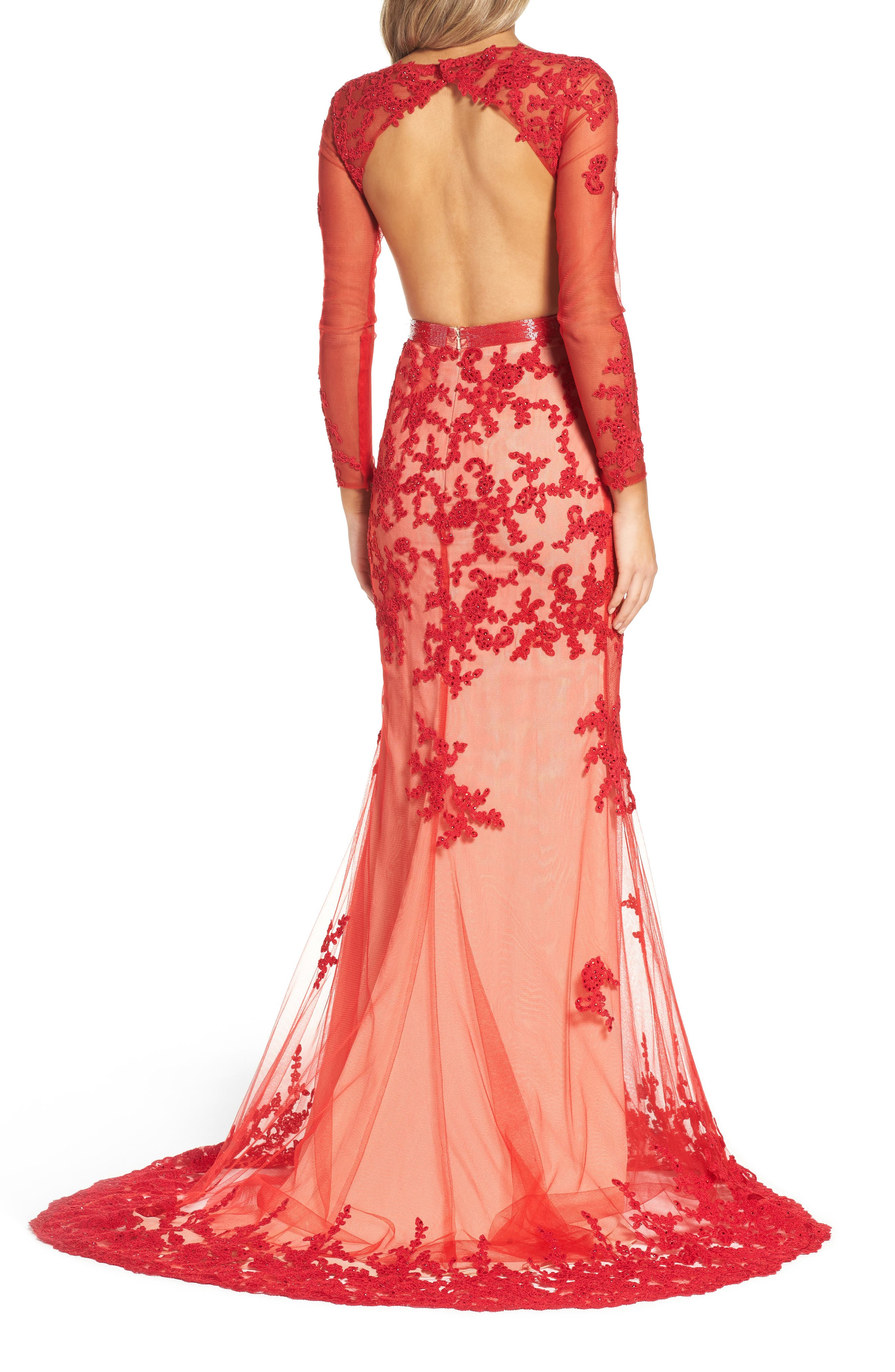 Open Back Embroidered Tulle Gown,                             Alternate thumbnail 4, color,