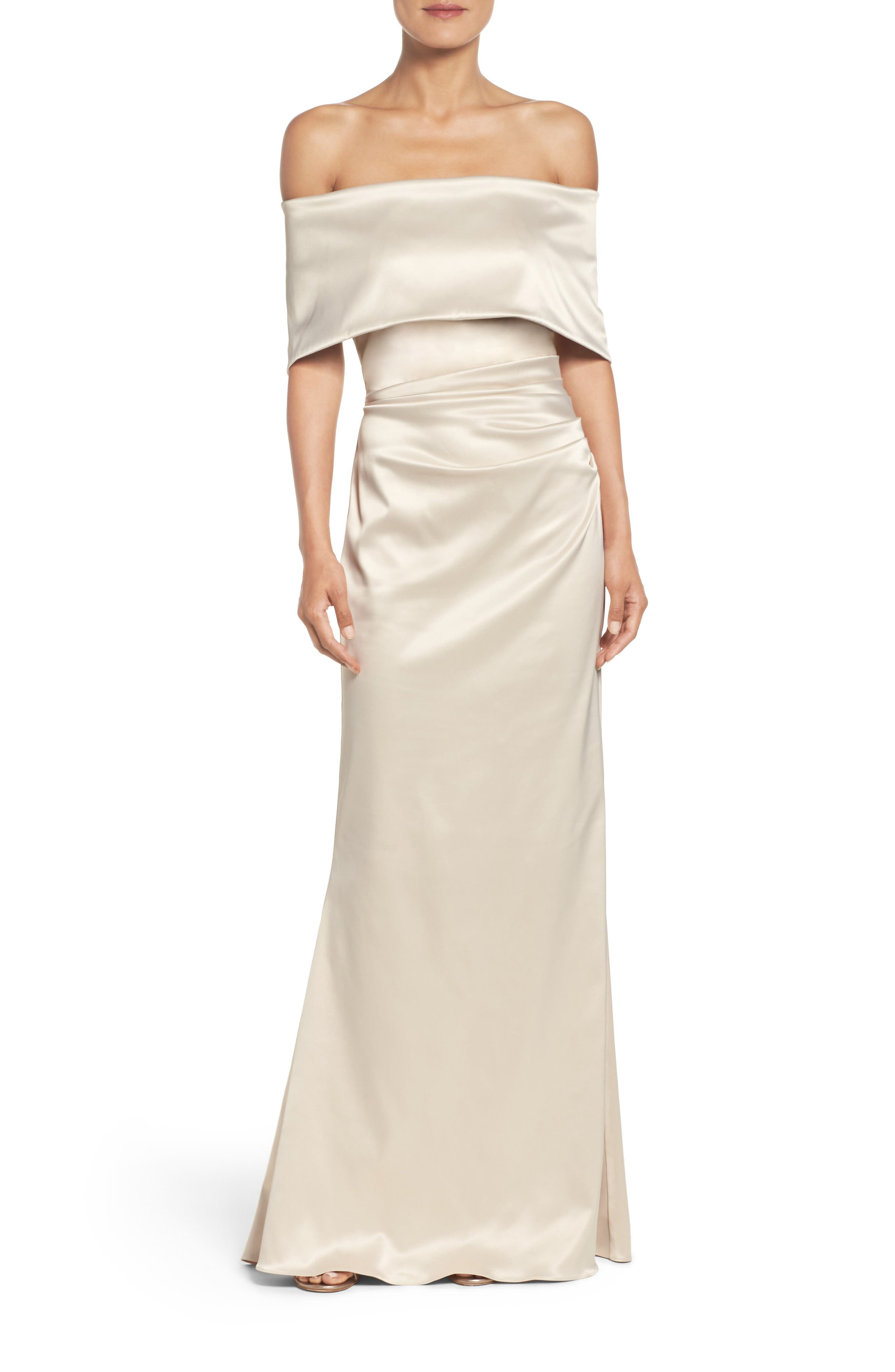 VINCE CAMUTO Off the Shoulder Gown, Main, color, CHAMPAGNE