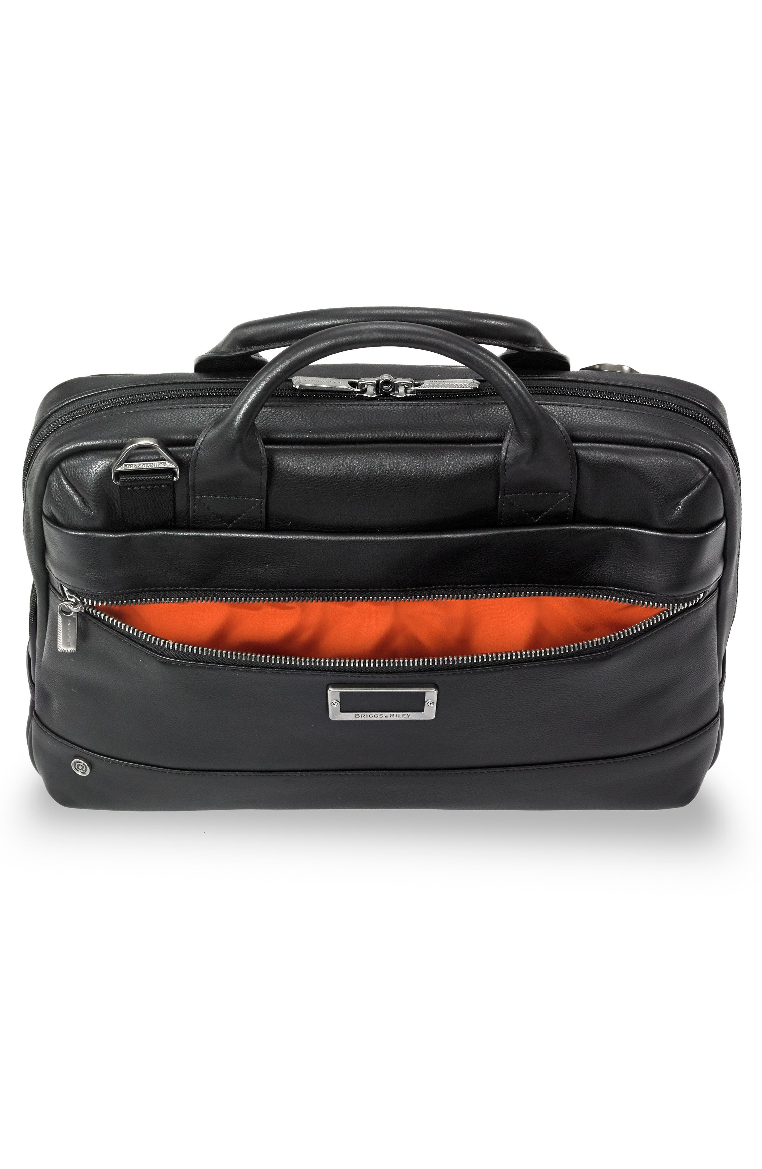BRIGGS & RILEY,                             @work Slim Leather Laptop Briefcase,                             Alternate thumbnail 7, color,                             BLACK