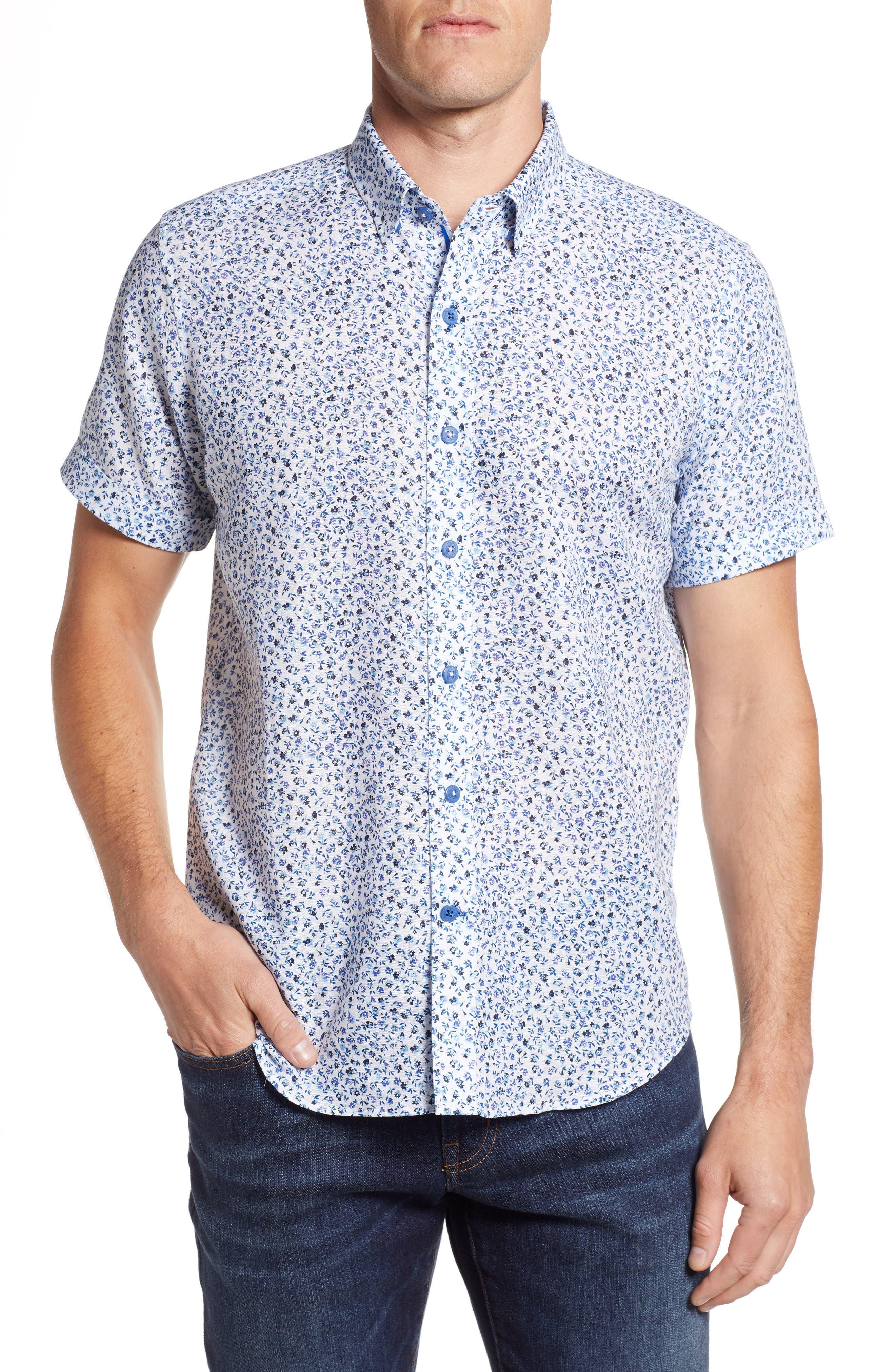 Patrick Floral Linen Blend Sport Shirt,                         Main,                         color, 400