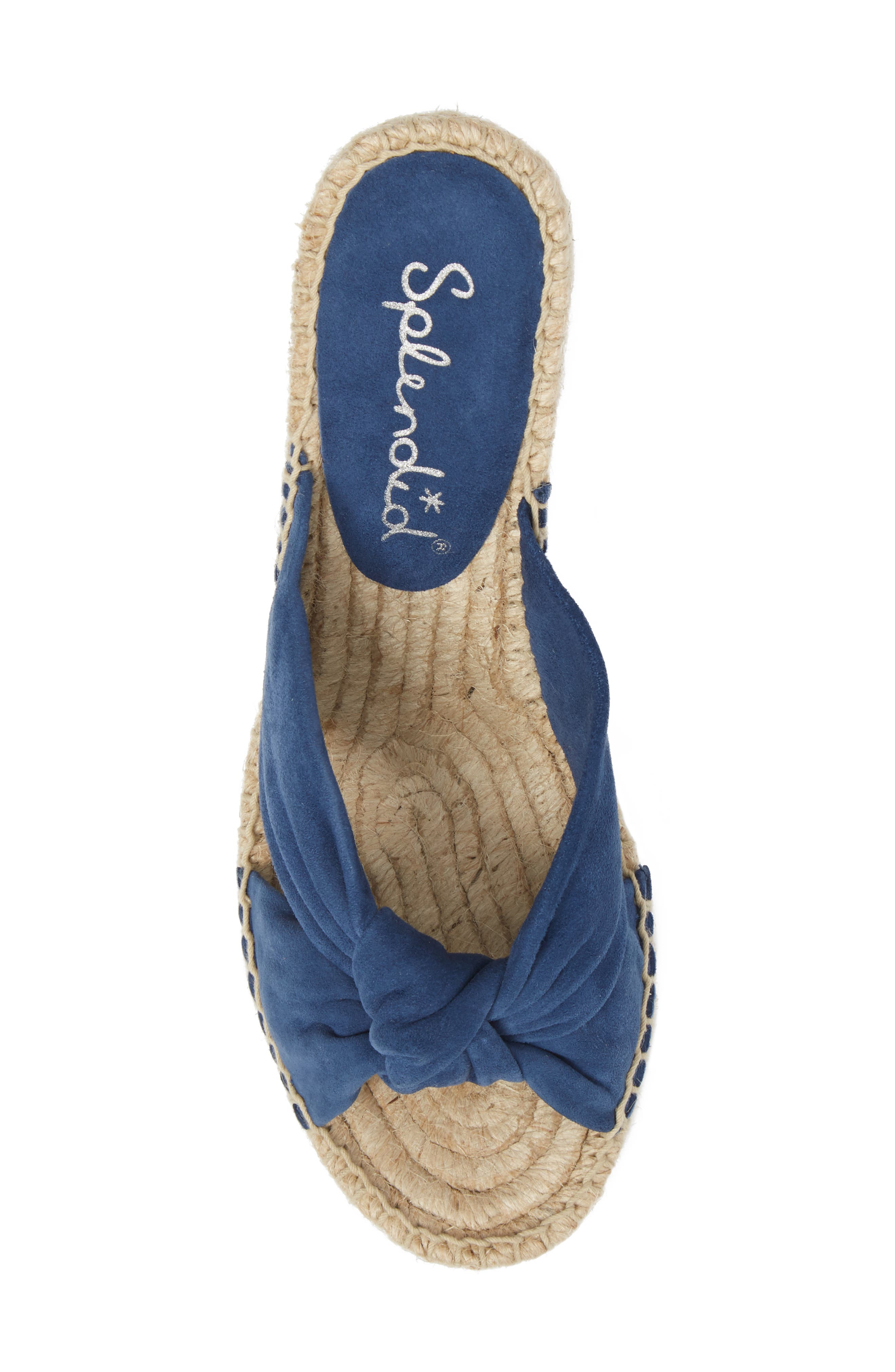 Bautista Knotted Wedge Sandal,                             Alternate thumbnail 5, color,                             DENIM FABRIC