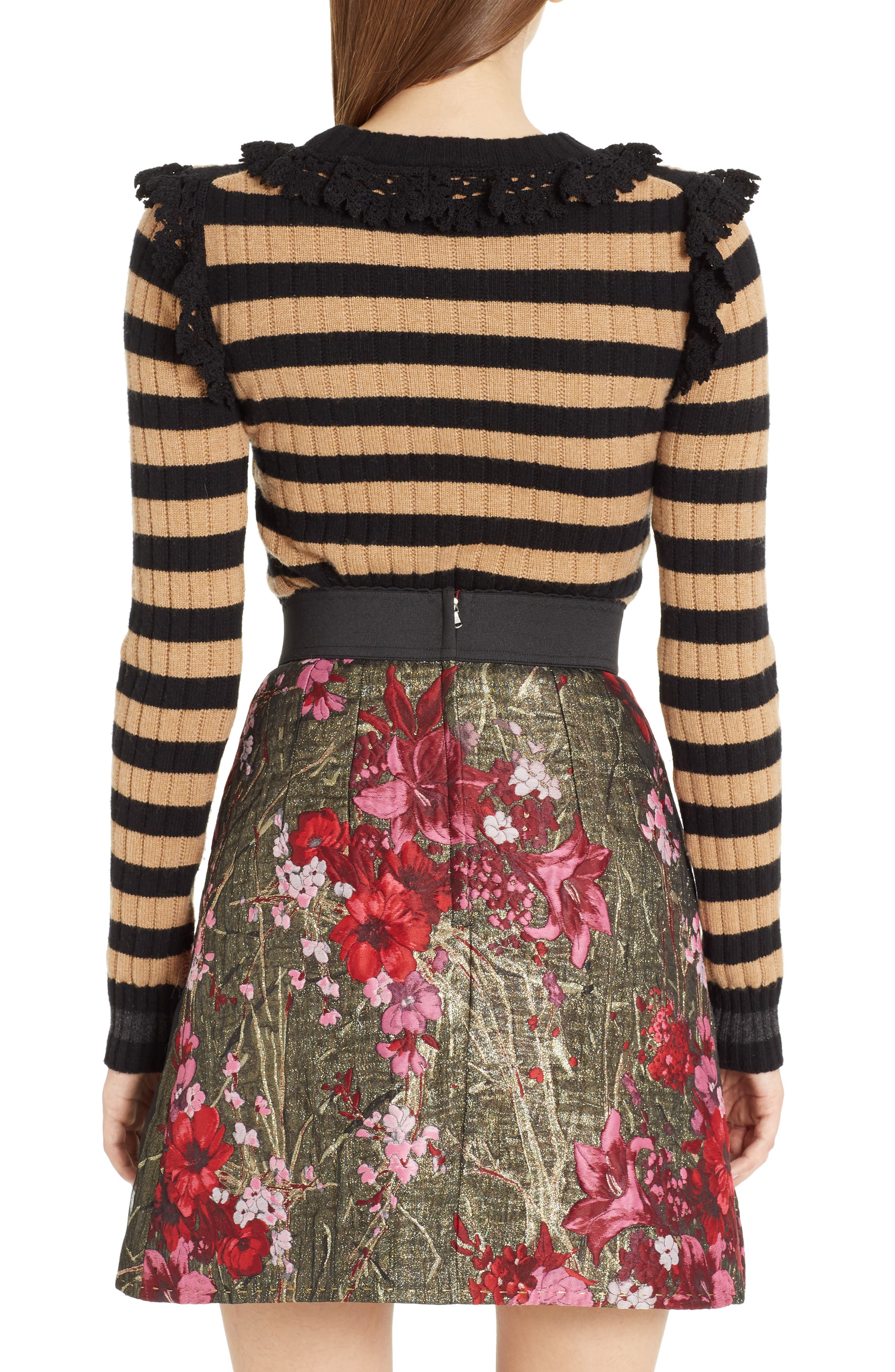 Heart Patch Stripe Wool & Cashmere Sweater,                             Alternate thumbnail 2, color,                             001