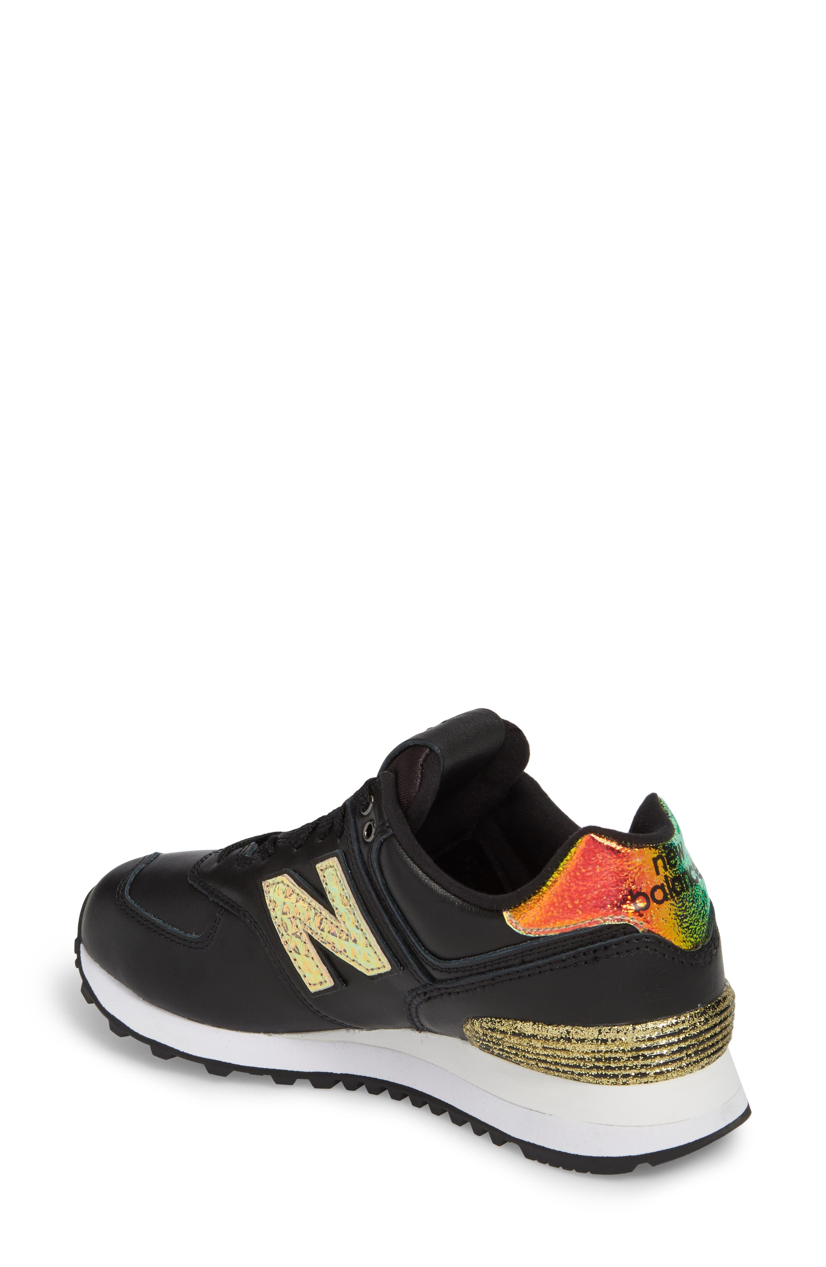 574 Glitter Punk Sneaker,                             Alternate thumbnail 2, color,                             001