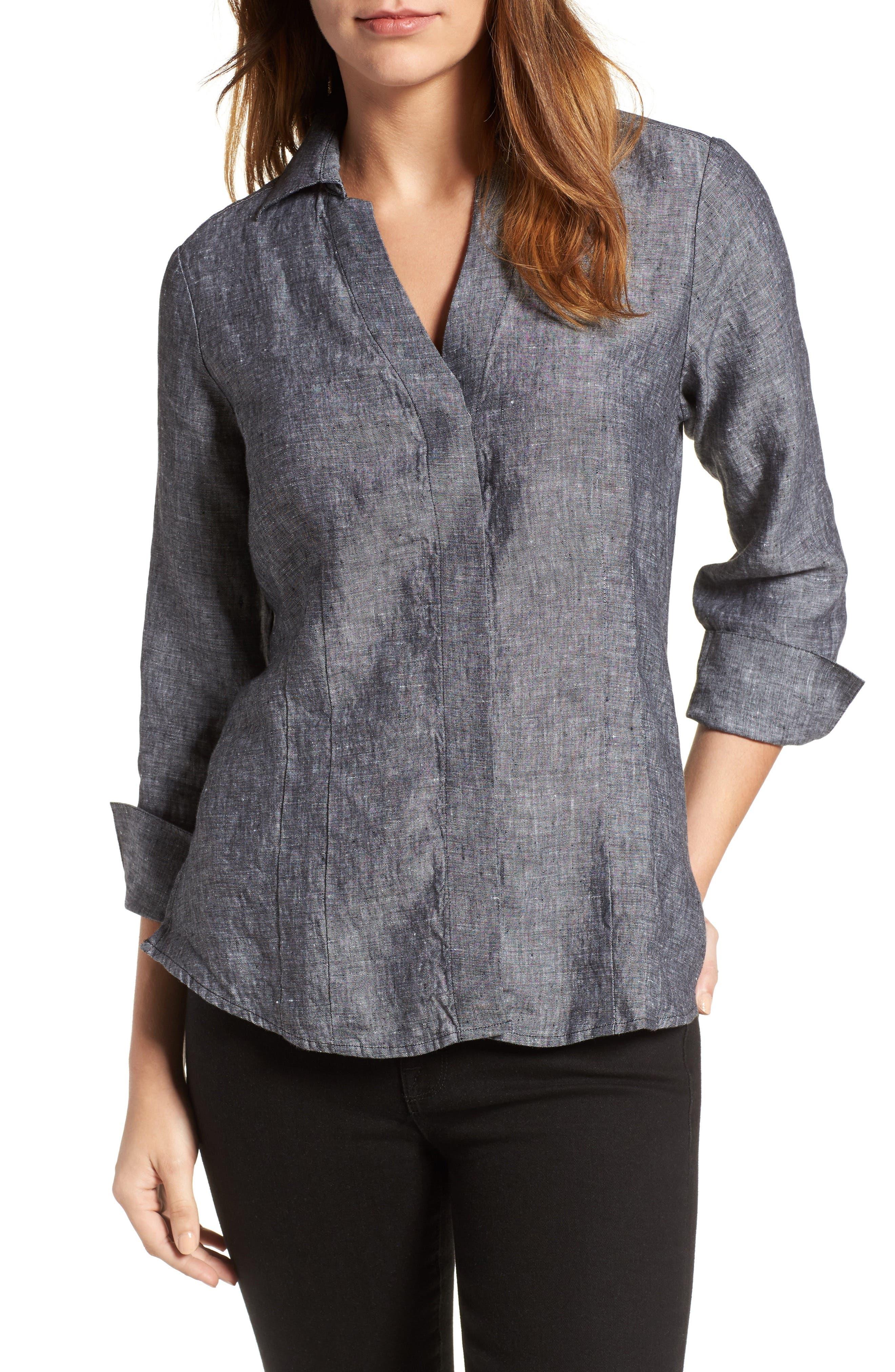 Linen Chambray Shirt,                             Main thumbnail 1, color,                             001