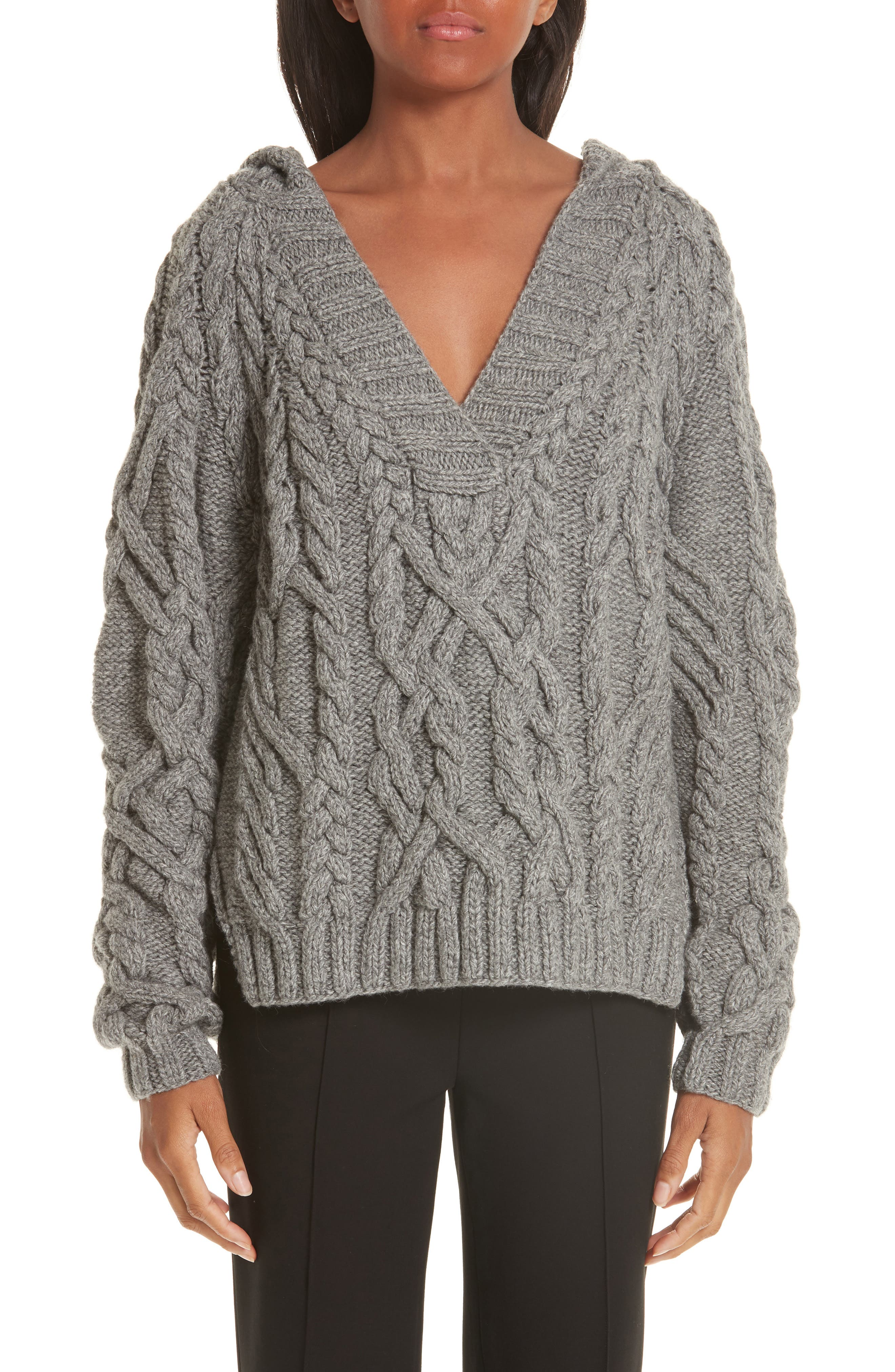 Mélange Cable Knit Hooded Sweater,                             Main thumbnail 1, color,                             GREY MELANGE