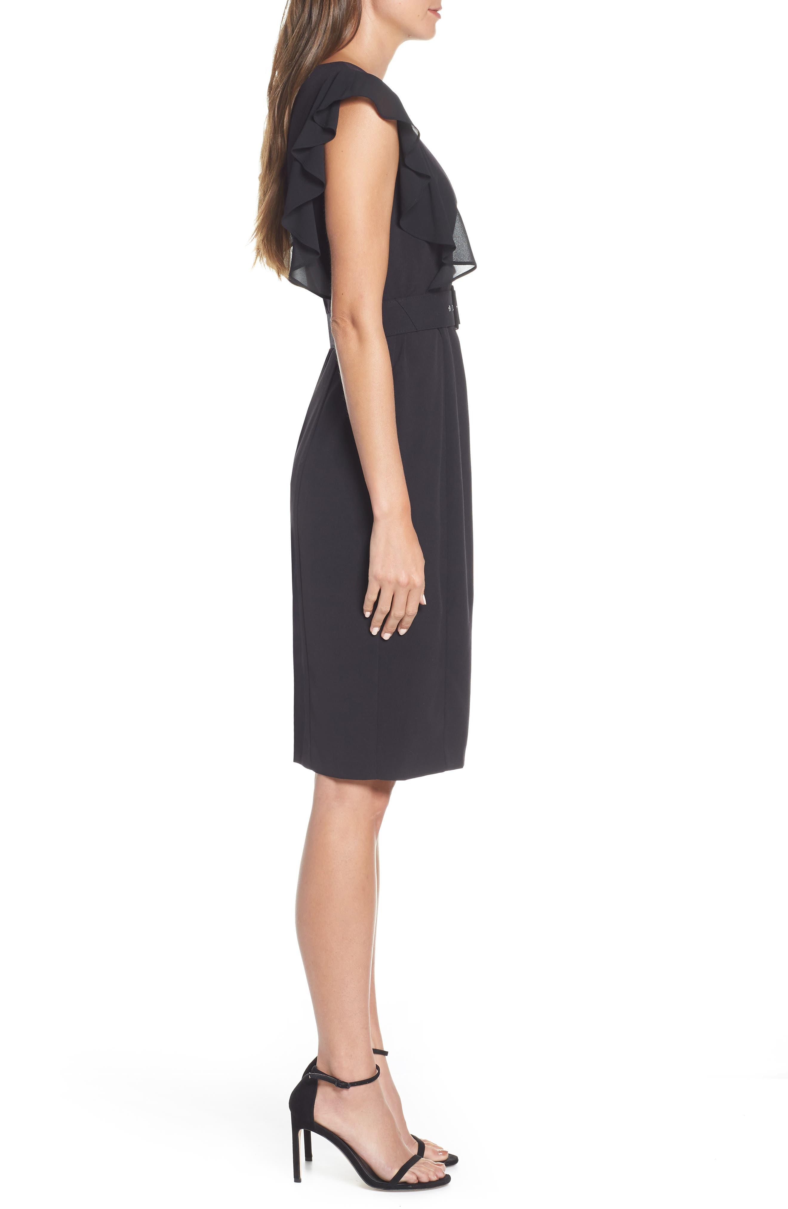 HARPER ROSE,                             Belted Sheath Dress,                             Alternate thumbnail 4, color,                             BLACK