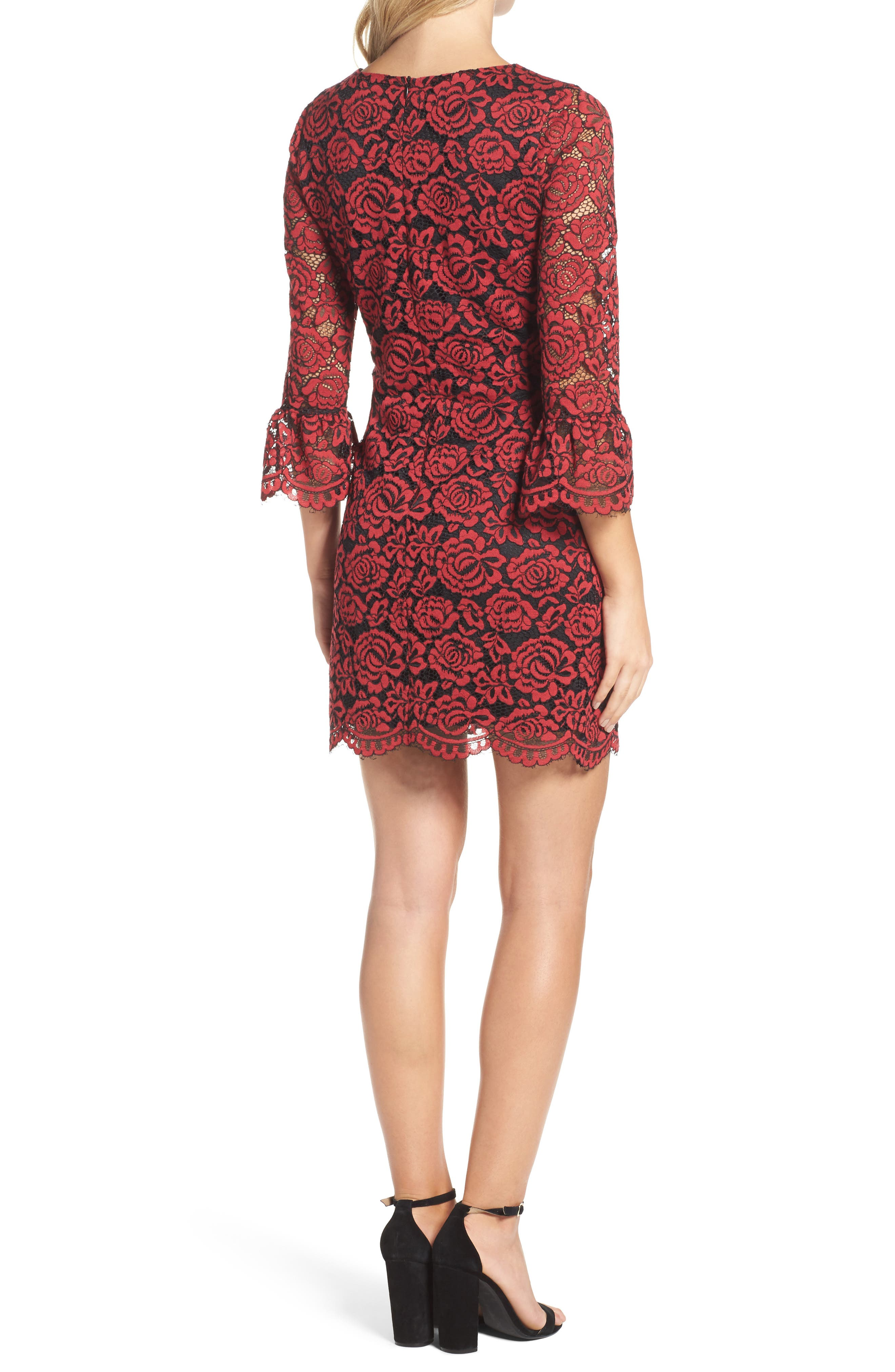 Lace Bell Sleeve Dress,                             Alternate thumbnail 8, color,