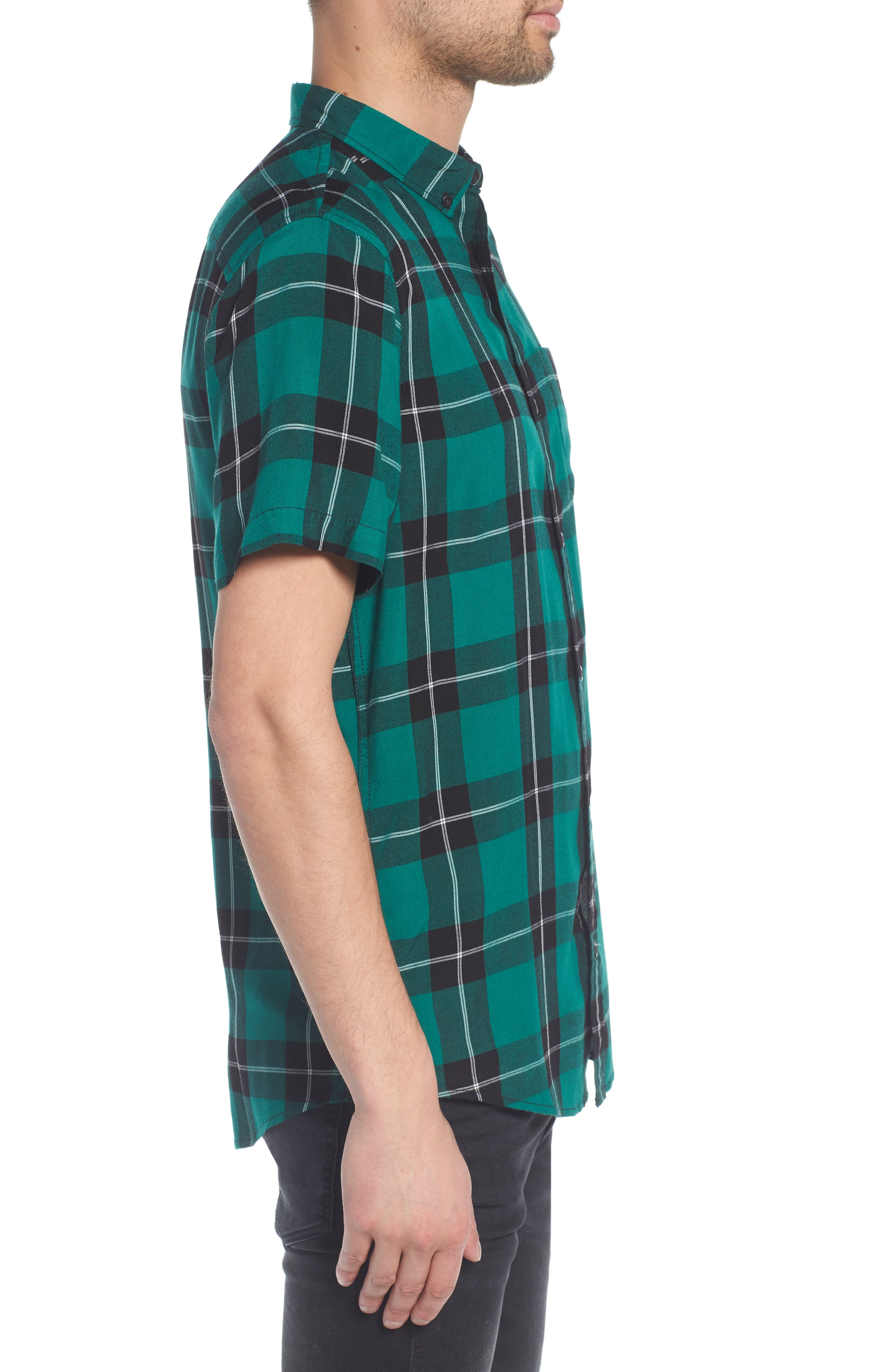 Yarn Dyed Plaid Shirt,                             Alternate thumbnail 3, color,                             001