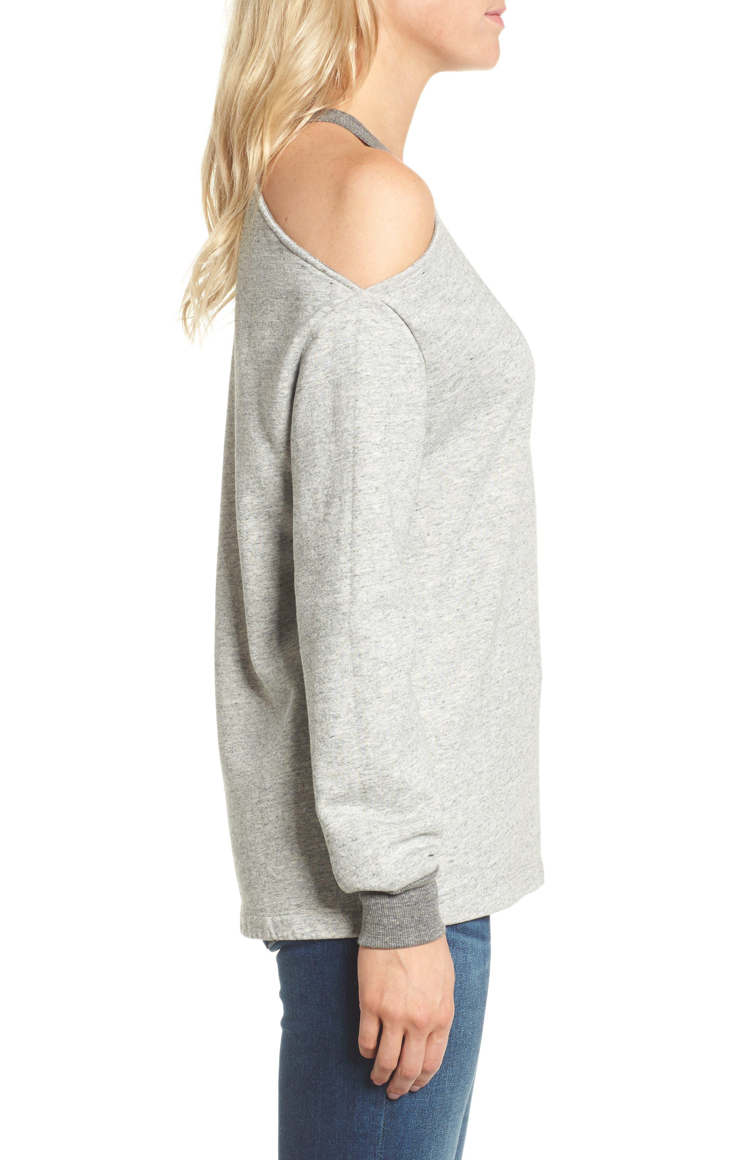 Gizi Cold Shoulder Sweatshirt,                             Alternate thumbnail 3, color,                             022