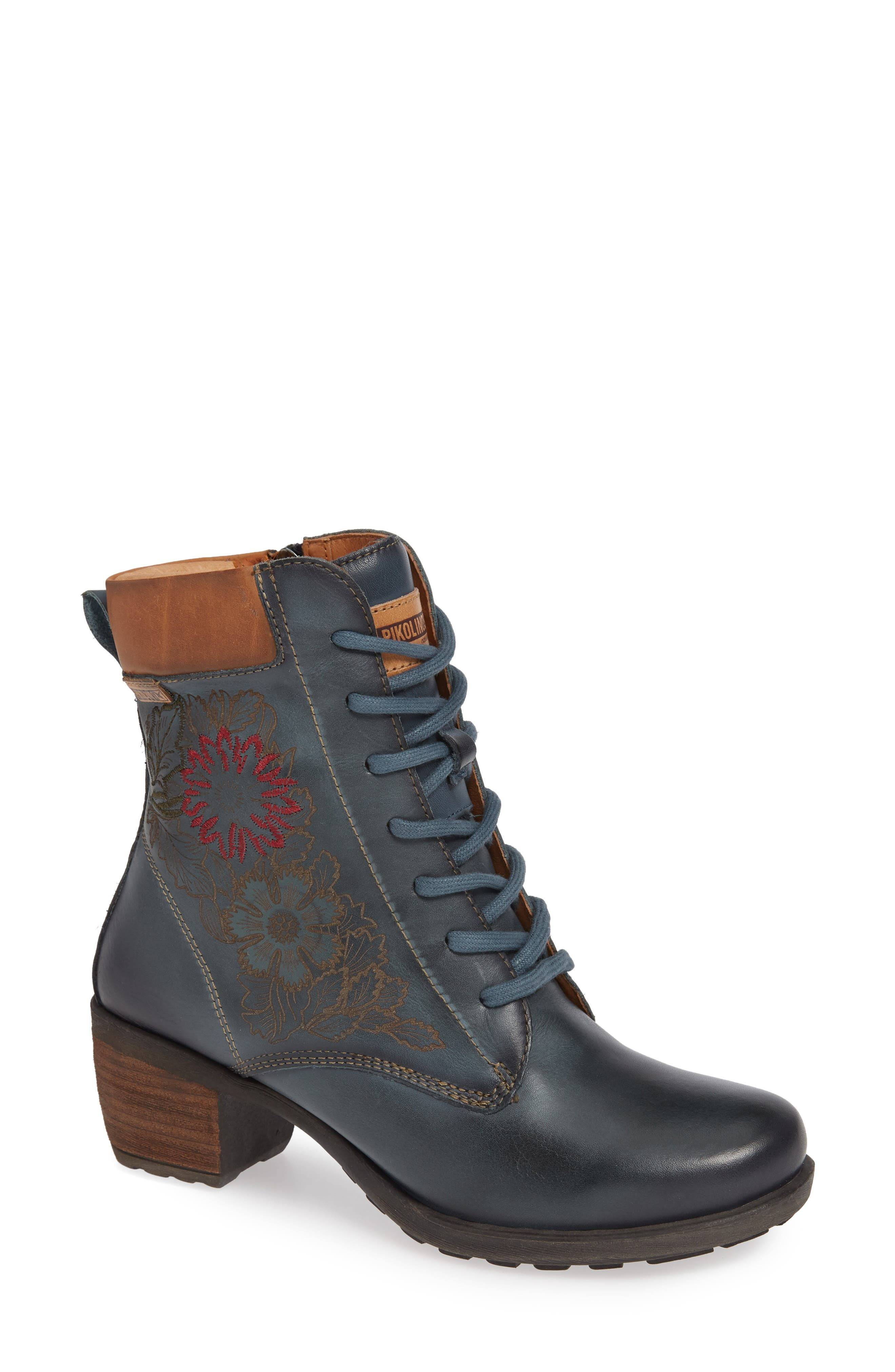 Le Mans Embroidered Lace-Up Bootie,                             Main thumbnail 1, color,                             OCEAN LEATHER