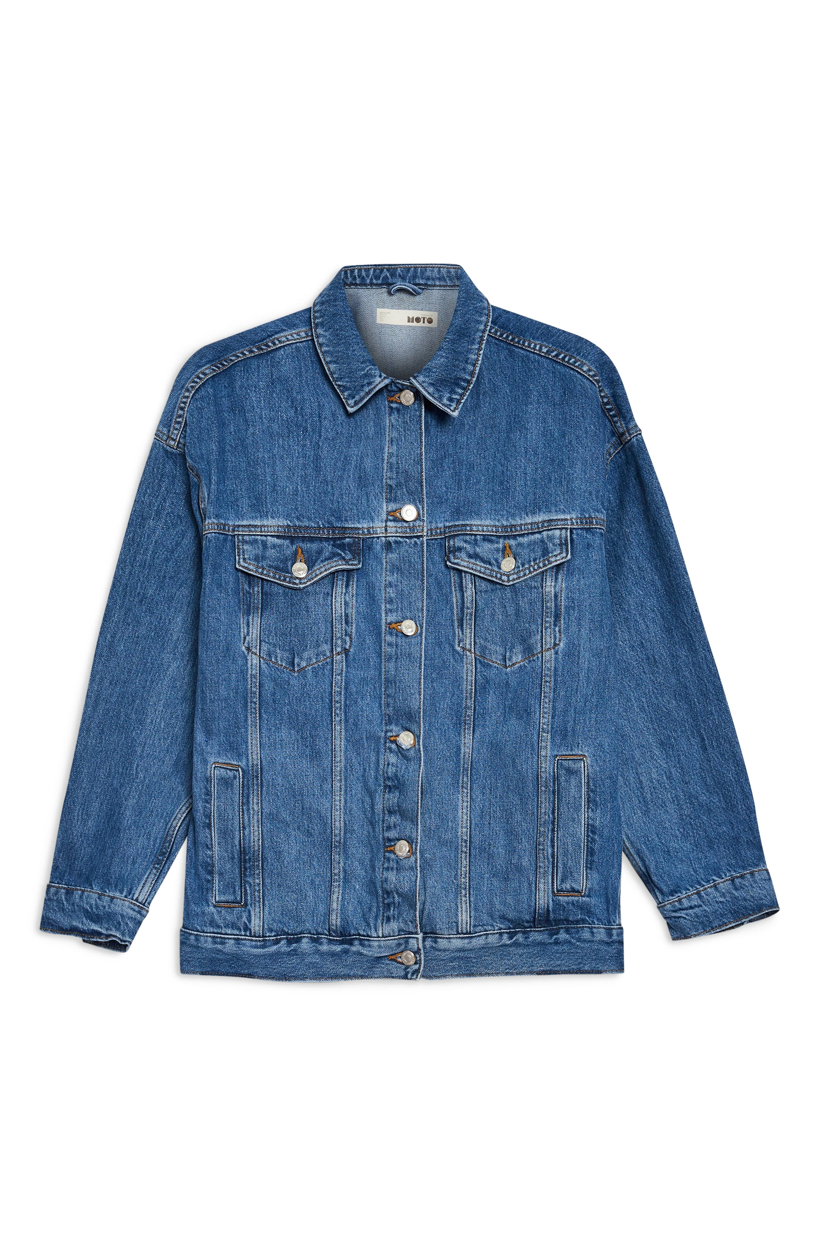 Oversized Denim Jacket,                             Alternate thumbnail 4, color,                             MID DENIM