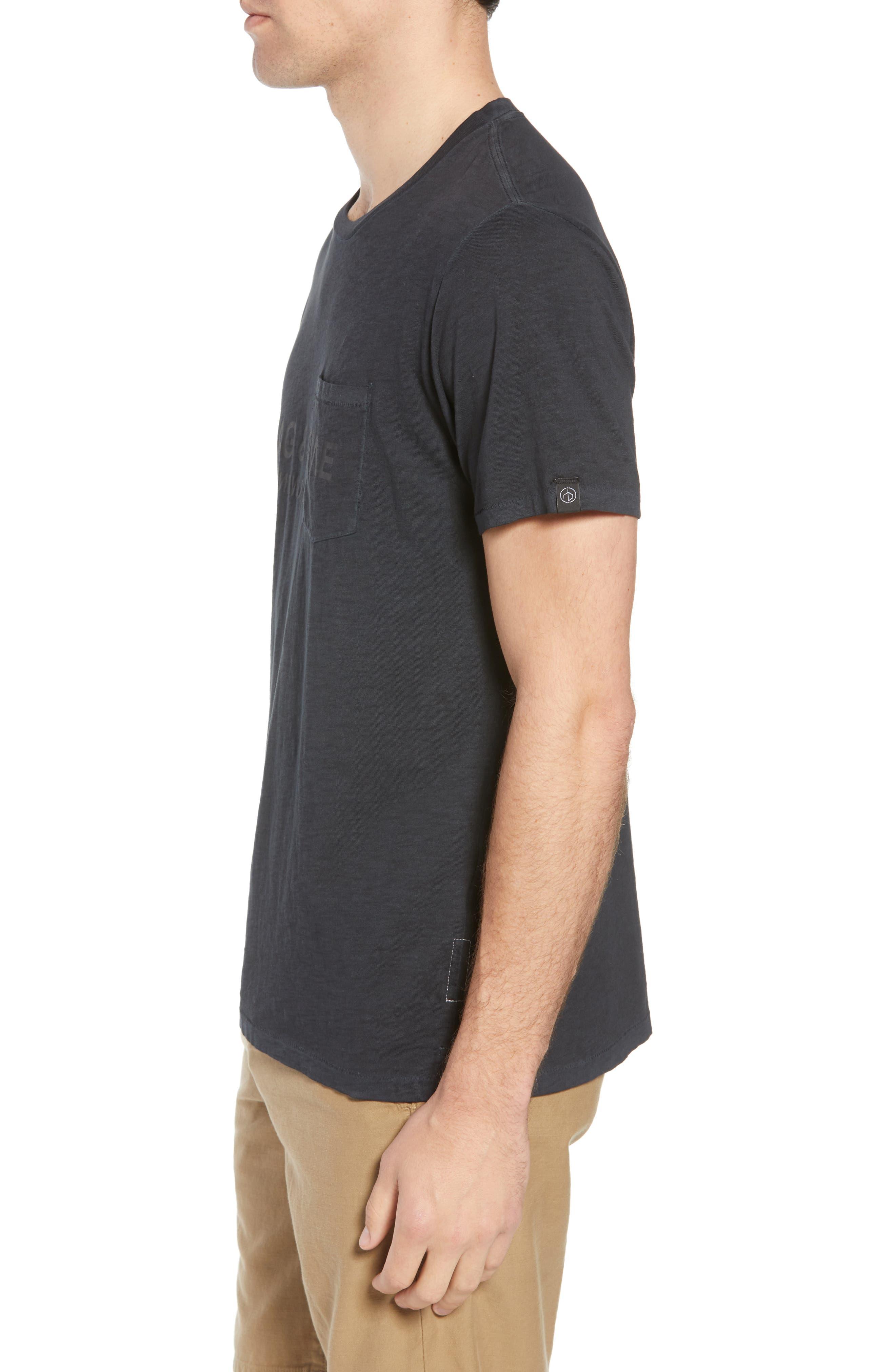 Upside Down Crewneck T-Shirt,                             Alternate thumbnail 3, color,                             WASHED BLACK
