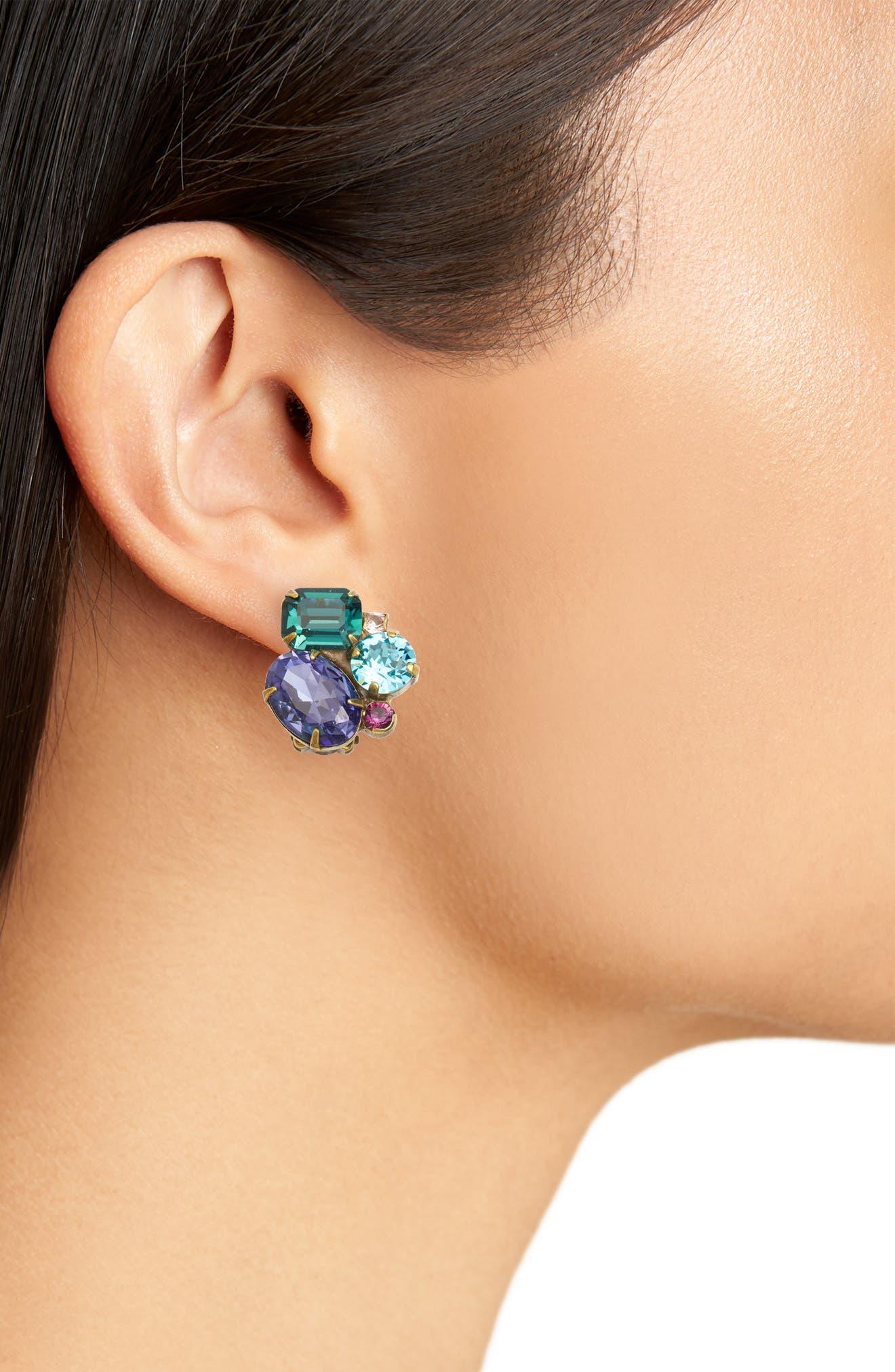 Crystal Cluster Clip Earrings,                             Alternate thumbnail 2, color,                             MULTI