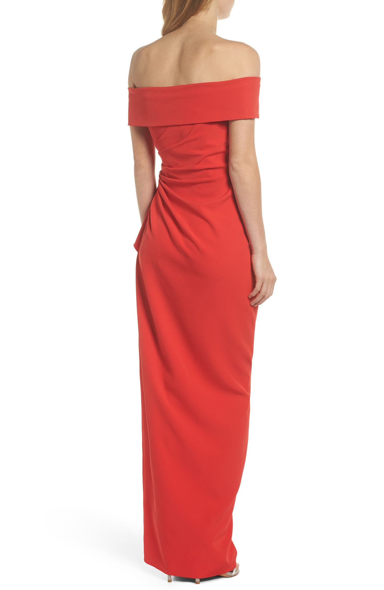 Off the Shoulder Crepe Gown,                             Alternate thumbnail 8, color,