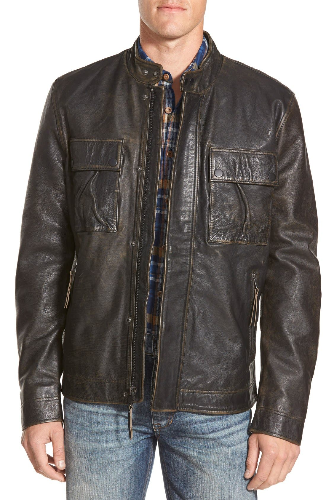 'Ace' Leather Jacket, Main, color, 001