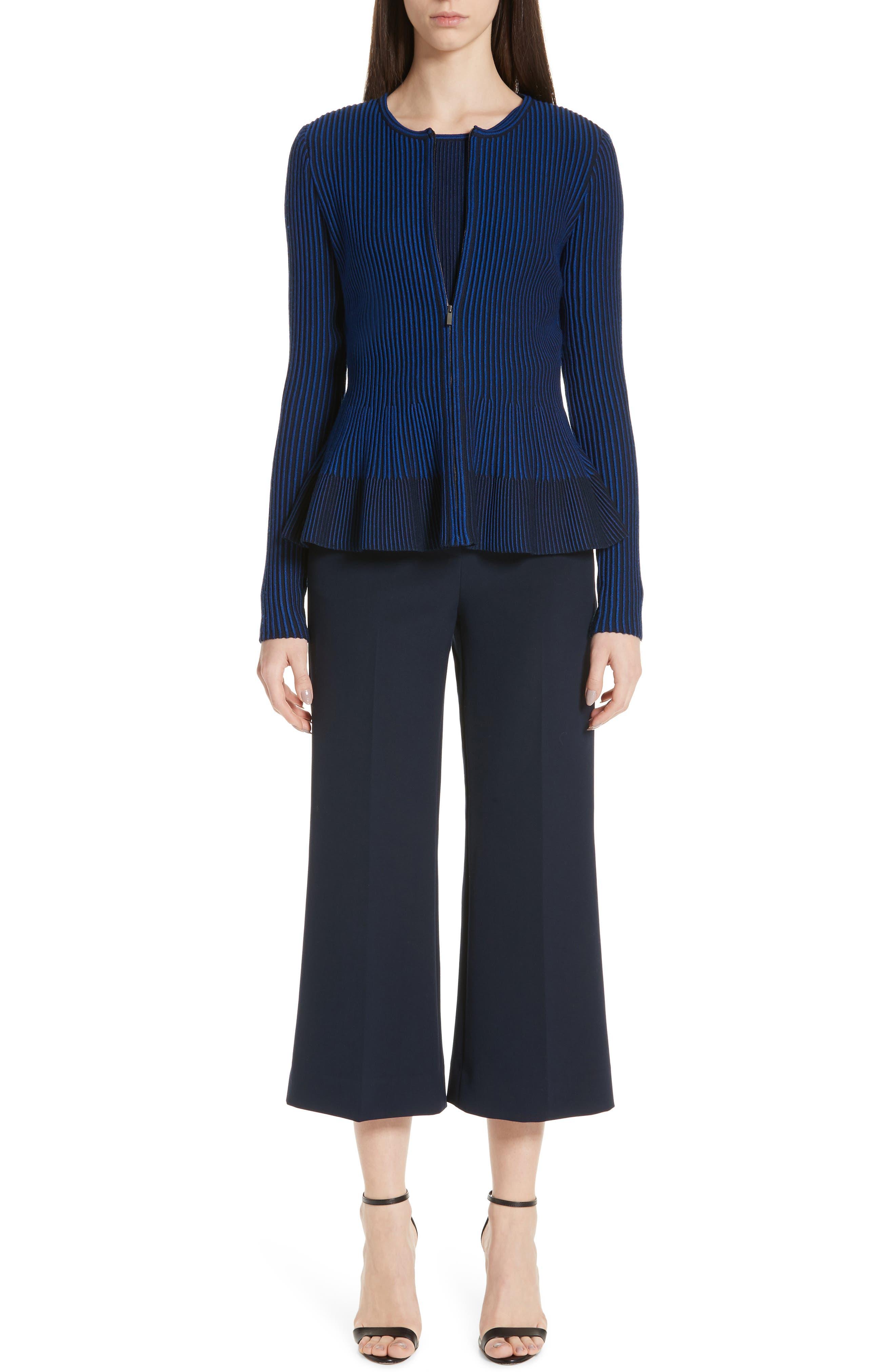 St. John Collection Bella Double Weave Crop Flare Pants, Blue