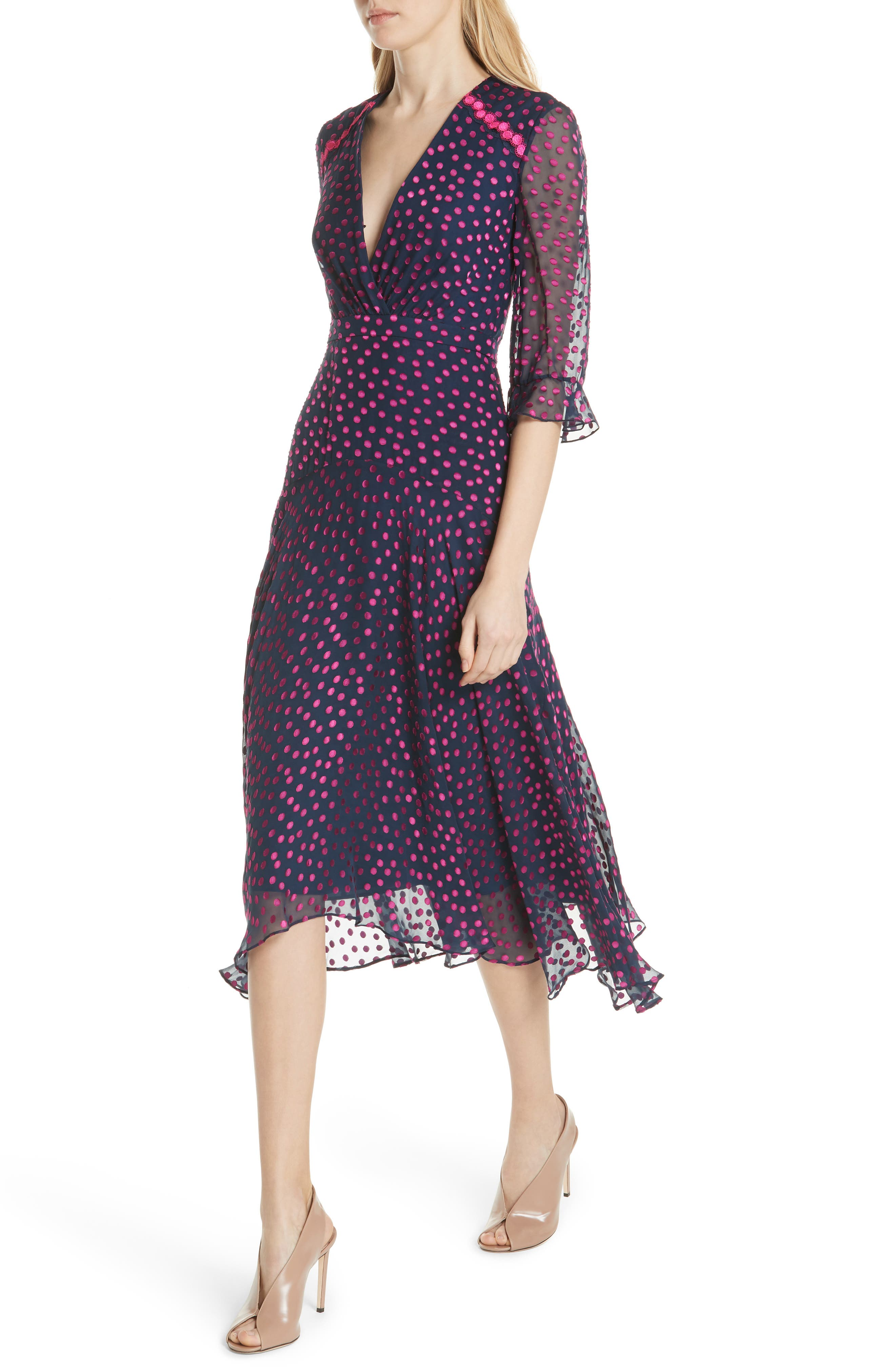 Edith Silk Blend Dress,                             Alternate thumbnail 4, color,                             NAVY/ MAGENTA