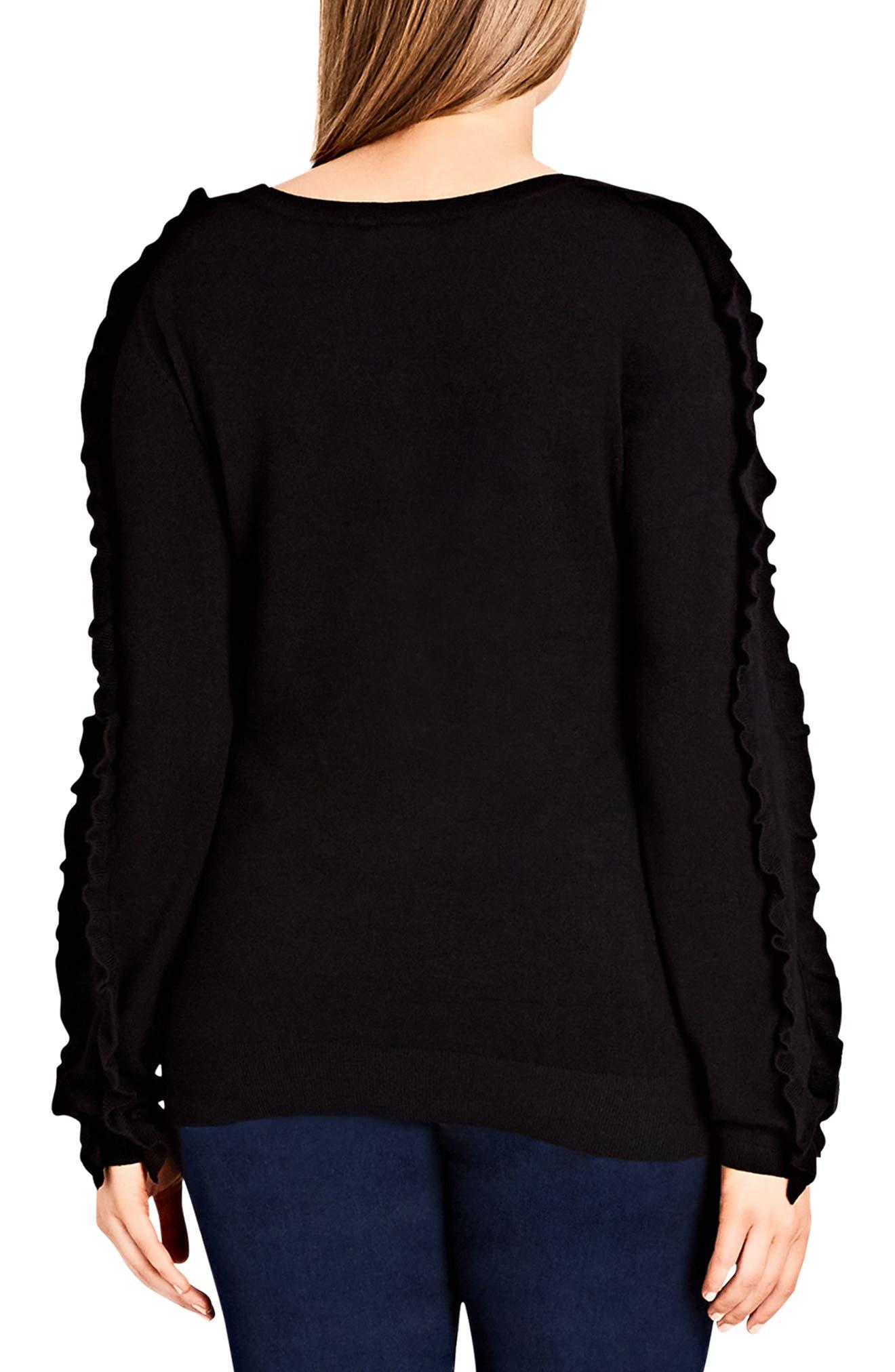 Charmed Ruffle Sleeve Sweater,                             Alternate thumbnail 2, color,                             BLACK