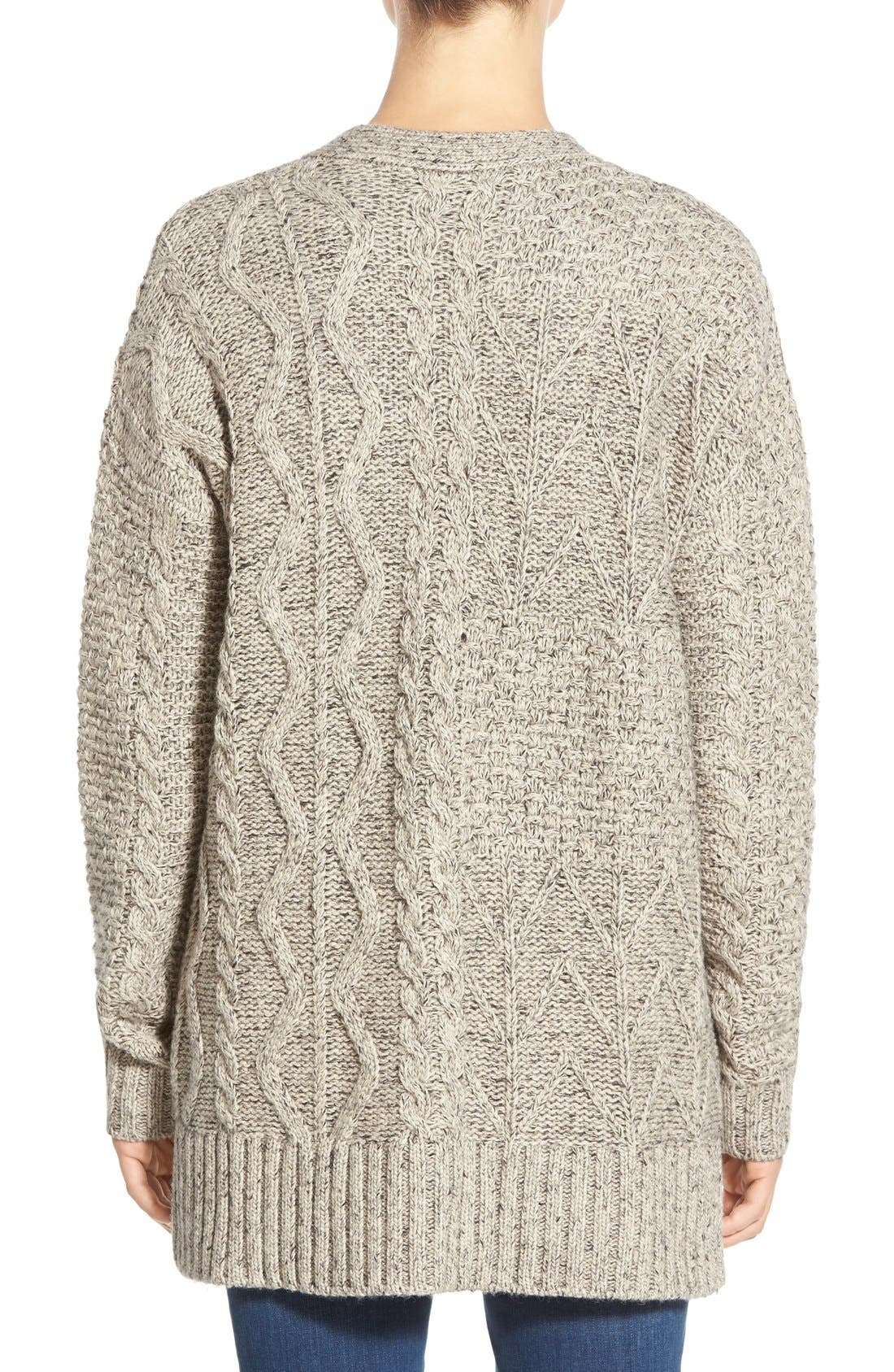 Marled Panel Stitch Open Front Cardigan,                             Alternate thumbnail 4, color,                             250
