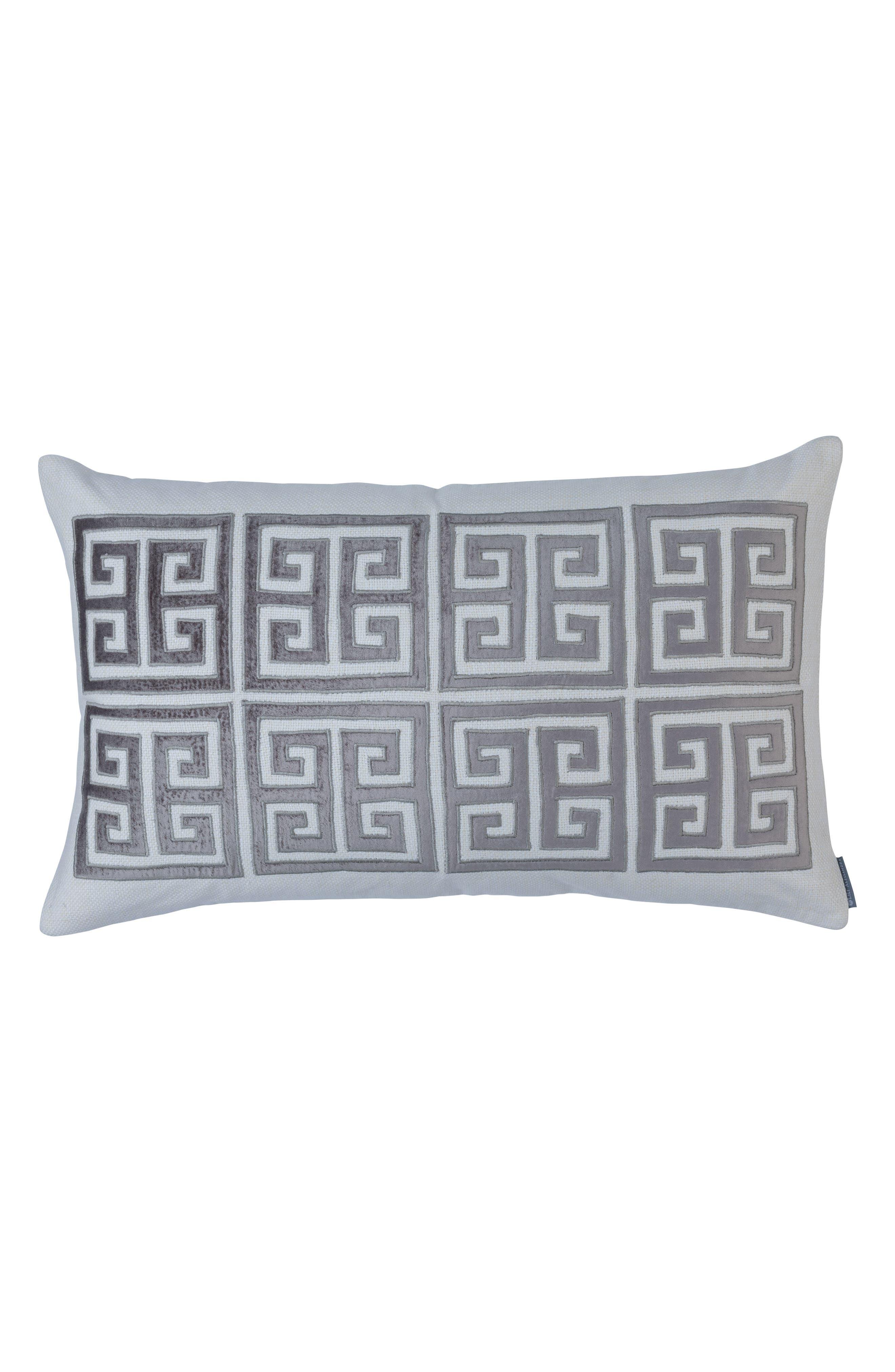 Guy Velvet Basket Weave Large Accent Pillow,                             Main thumbnail 1, color,                             GRAY