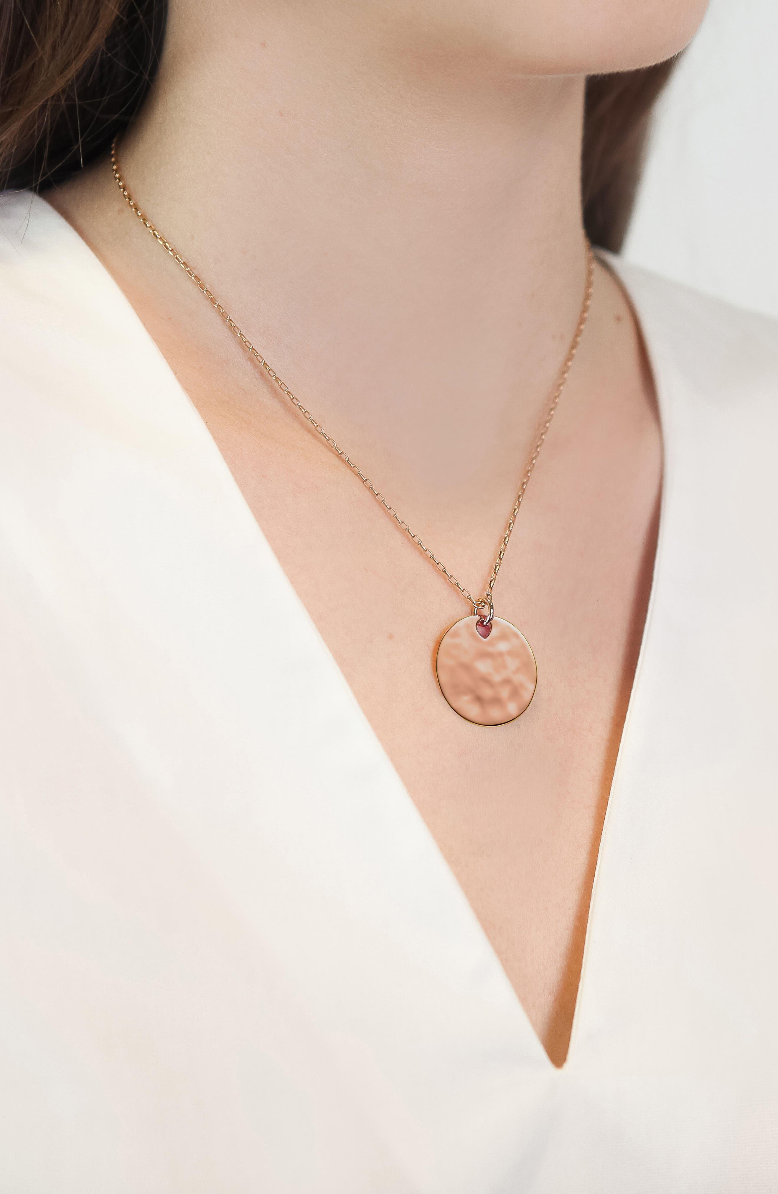 Engravable Havana Round Pendant Charm,                         Main,                         color, ROSE GOLD