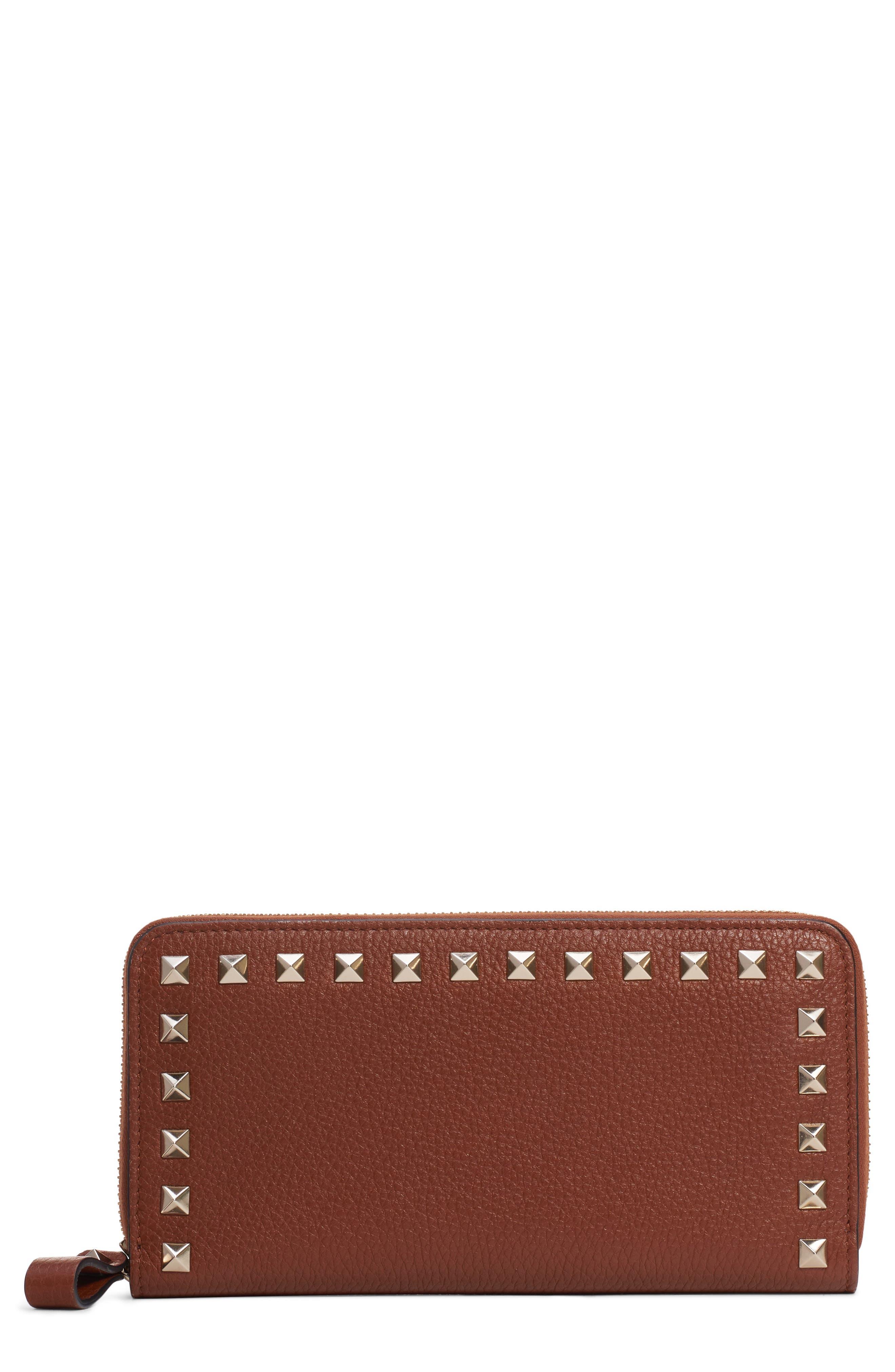 VALENTINO GARAVANI Rockstud Zip Around Leather Continental Wallet, Main, color, BRIGHT COGNAC