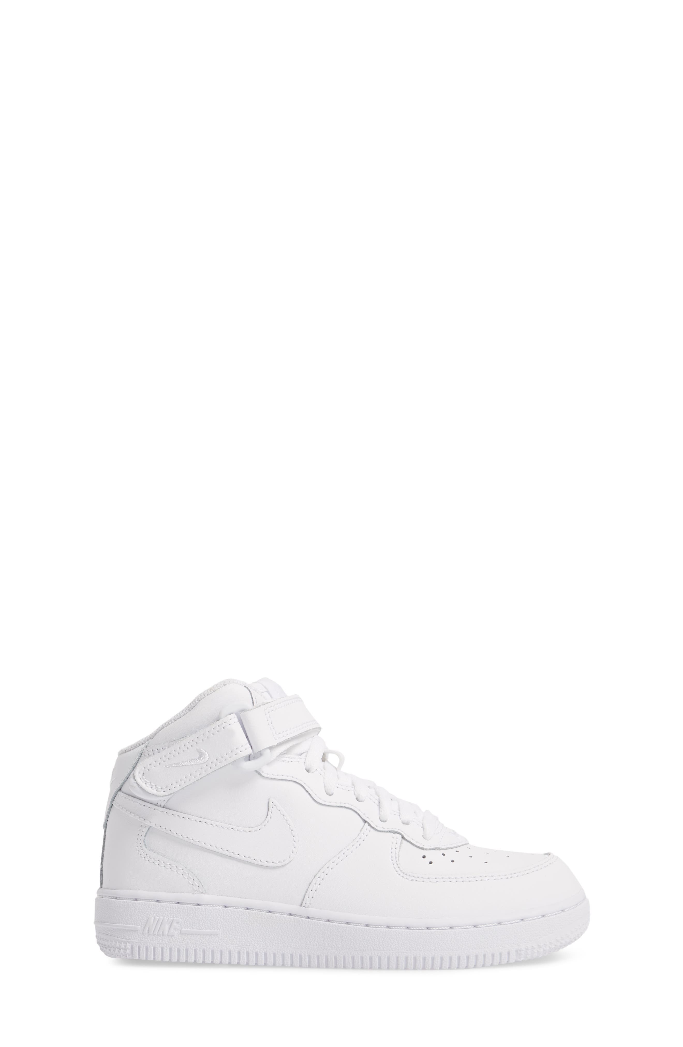 NIKE,                             Air Force 1 Mid Sneaker,                             Alternate thumbnail 3, color,                             WHITE/ WHITE
