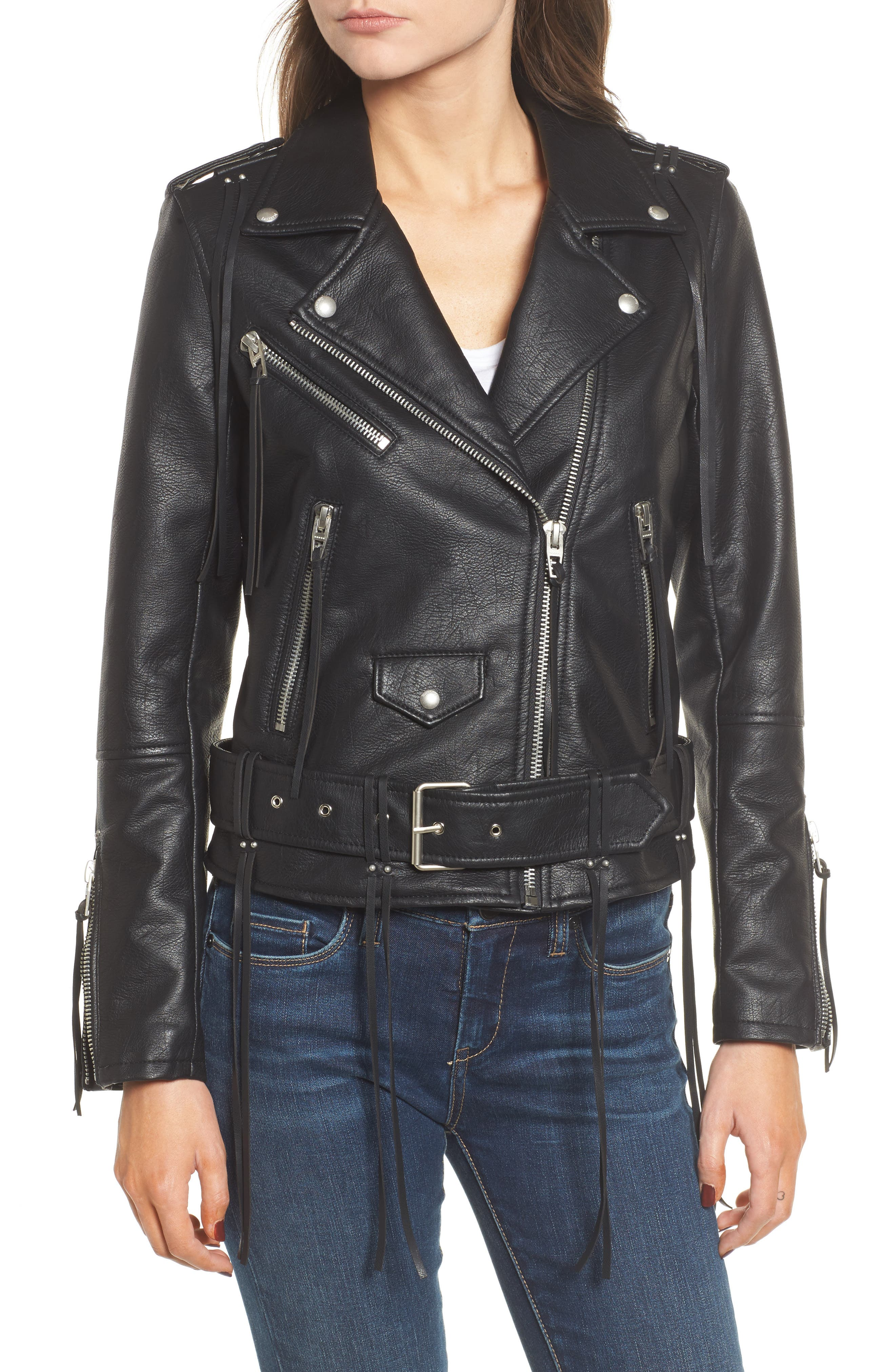 Faux Leather Tassel Moto Jacket,                             Alternate thumbnail 4, color,                             001