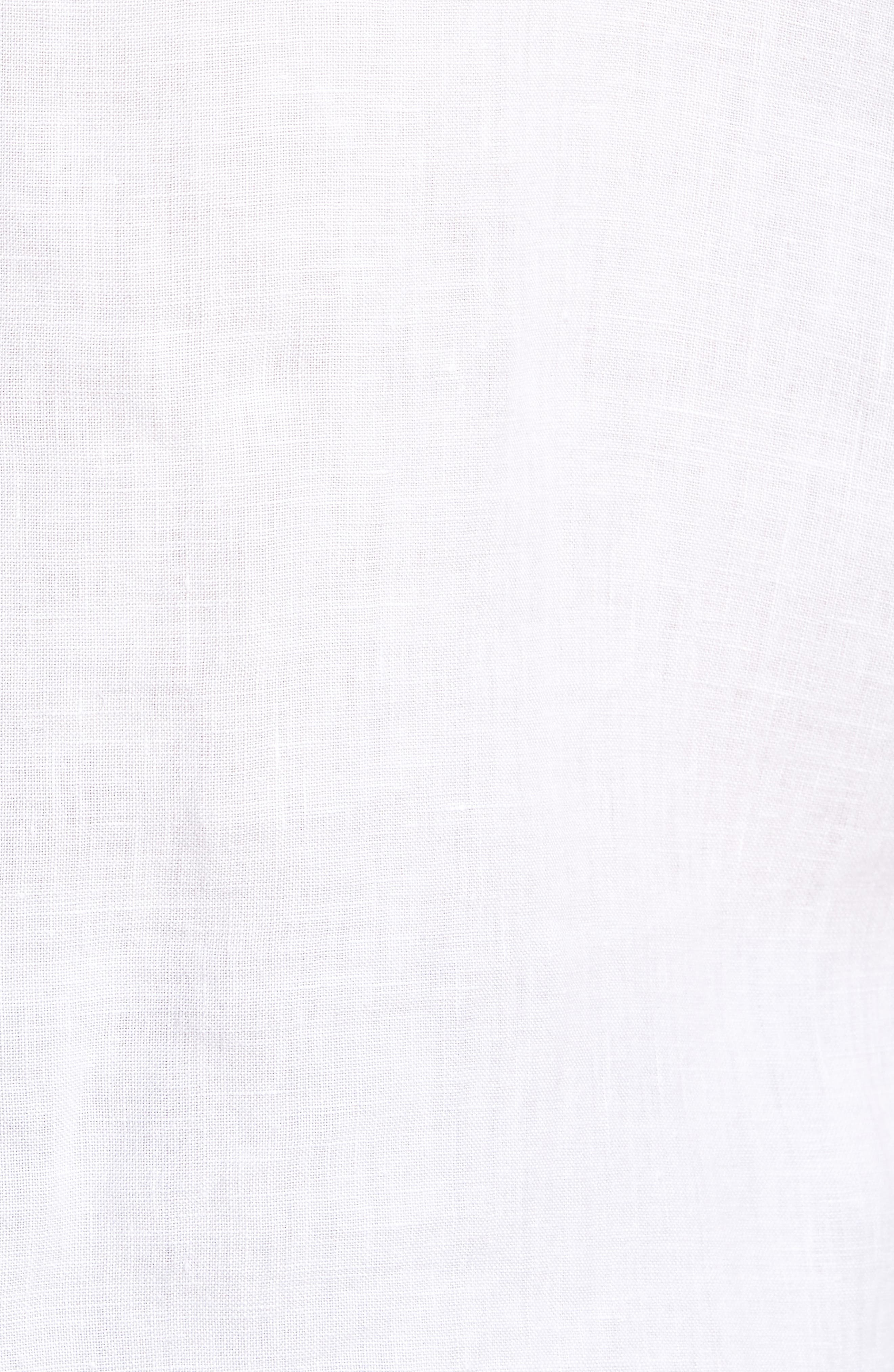 Irving Trim Fit Linen Short Sleeve Sport Shirt,                             Alternate thumbnail 5, color,                             100