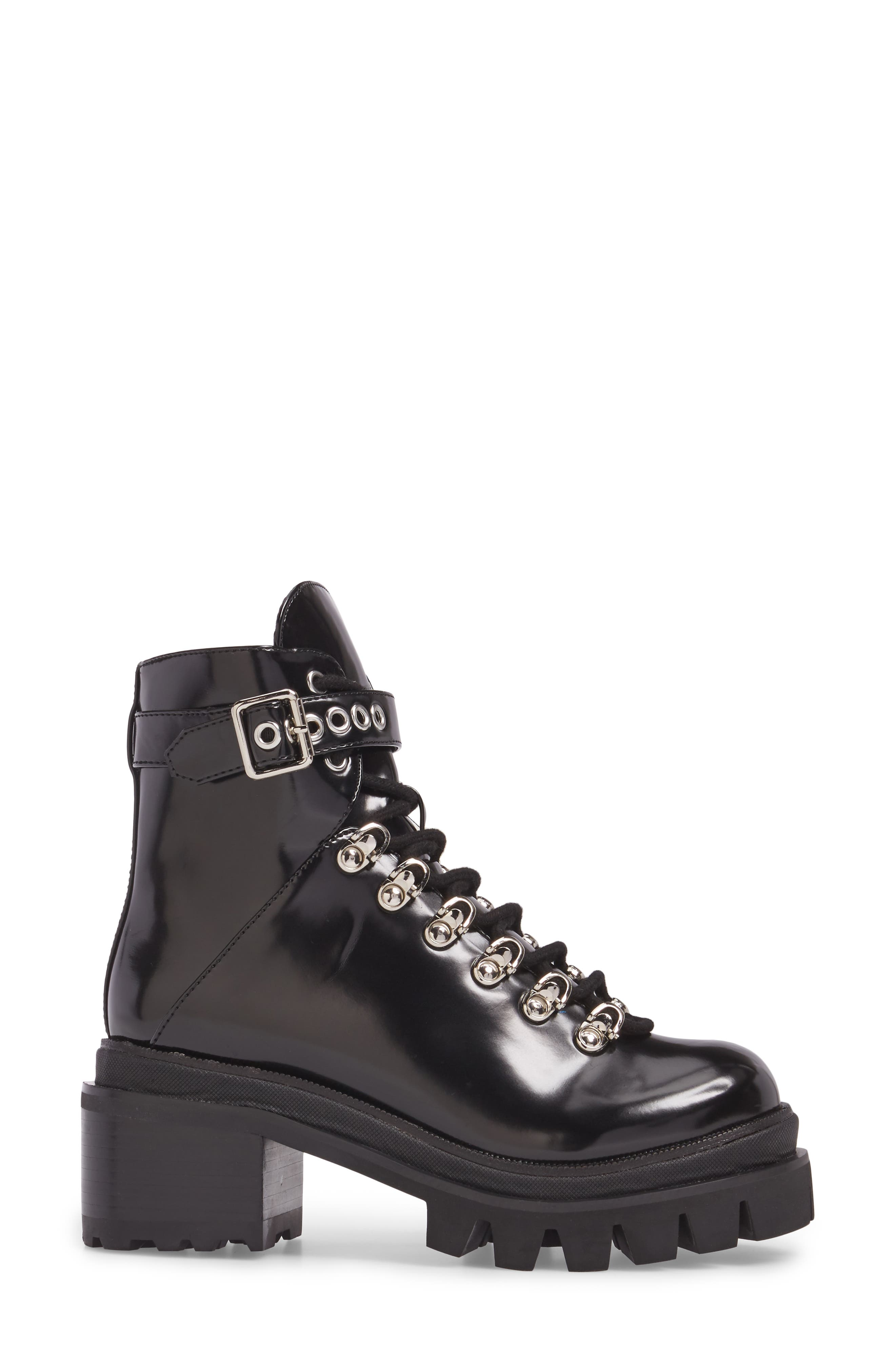 Czech Lace-Up Boot,                             Alternate thumbnail 3, color,                             BLACK PATENT LEATHER