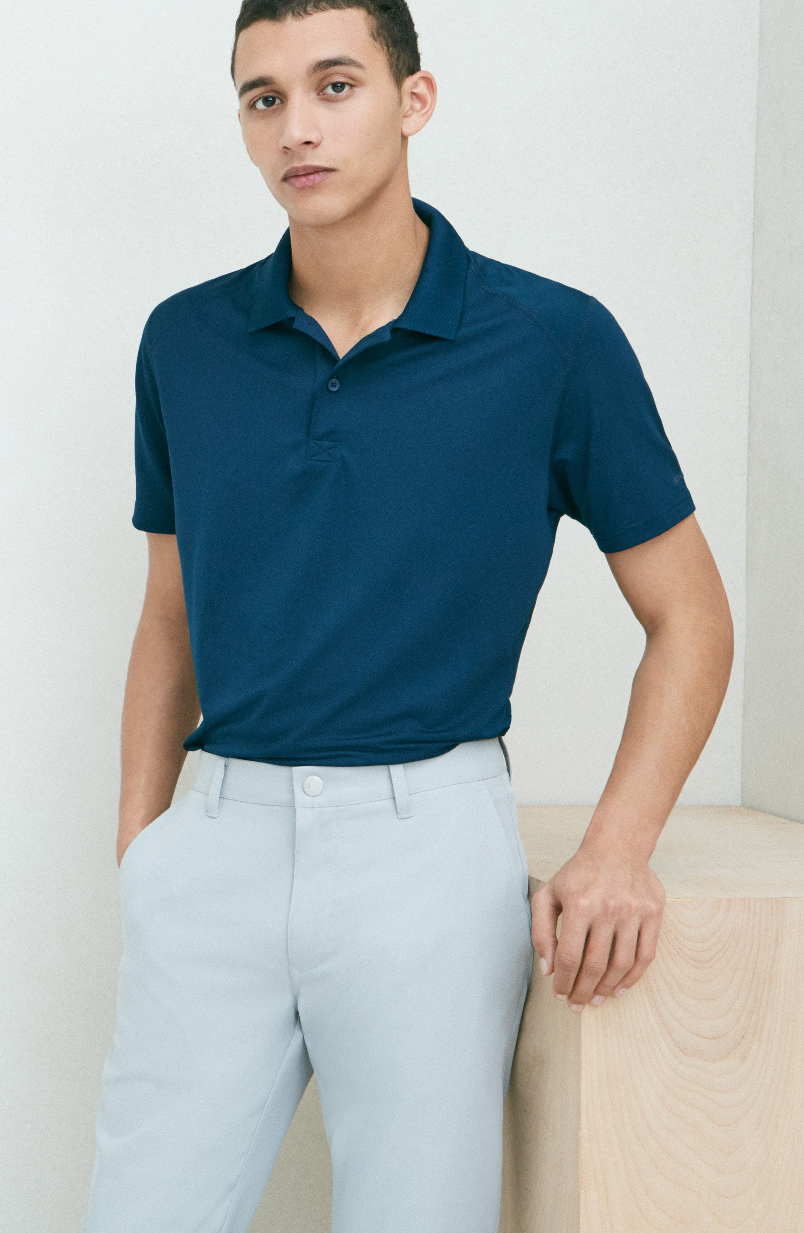 M-Flex Flatiron Slim Fit Golf Polo,                             Alternate thumbnail 7, color,                             SKY BLUE