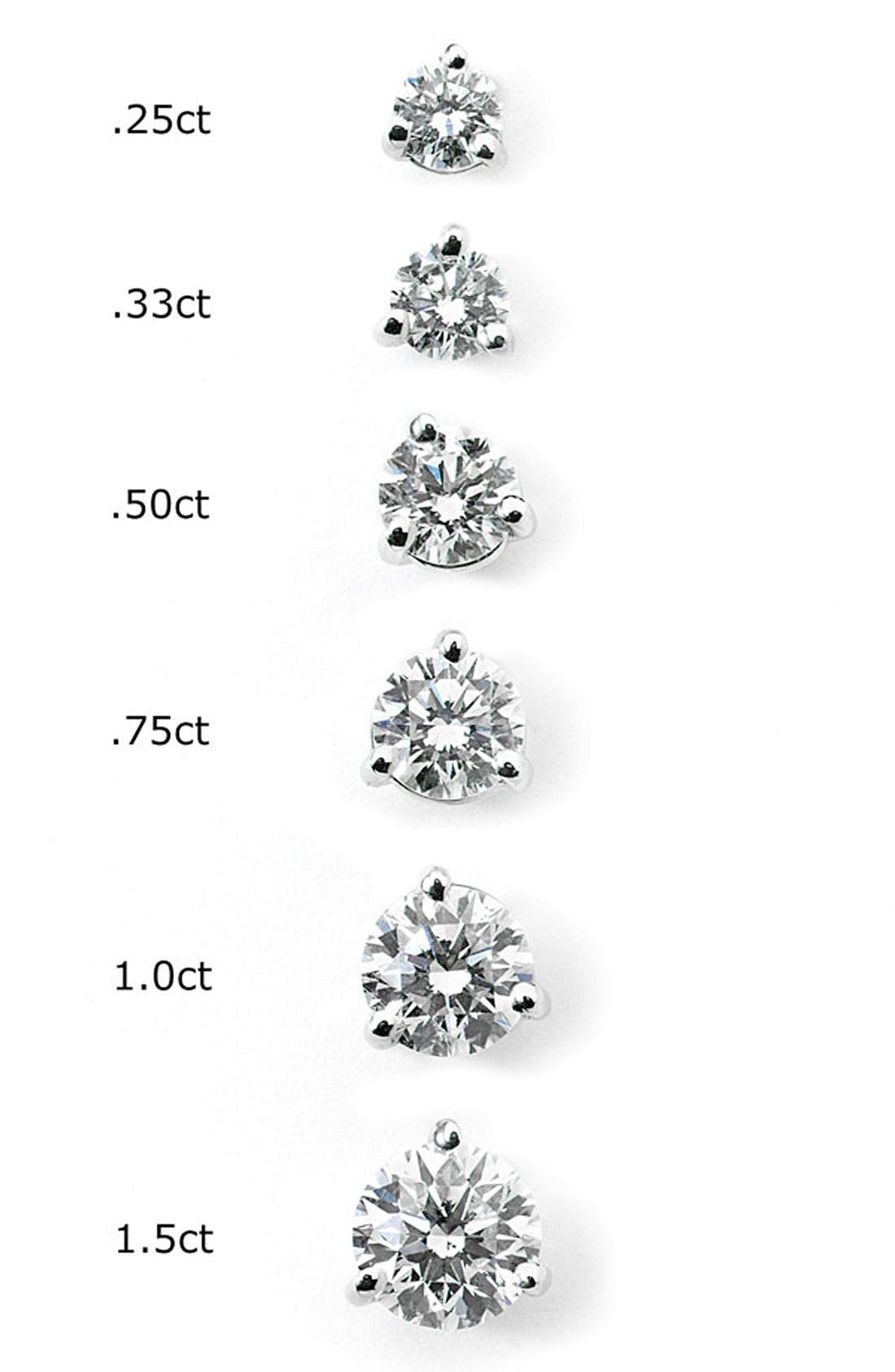 1ct tw Diamond & Platinum Stud Earrings,                             Alternate thumbnail 2, color,                             PLATINUM