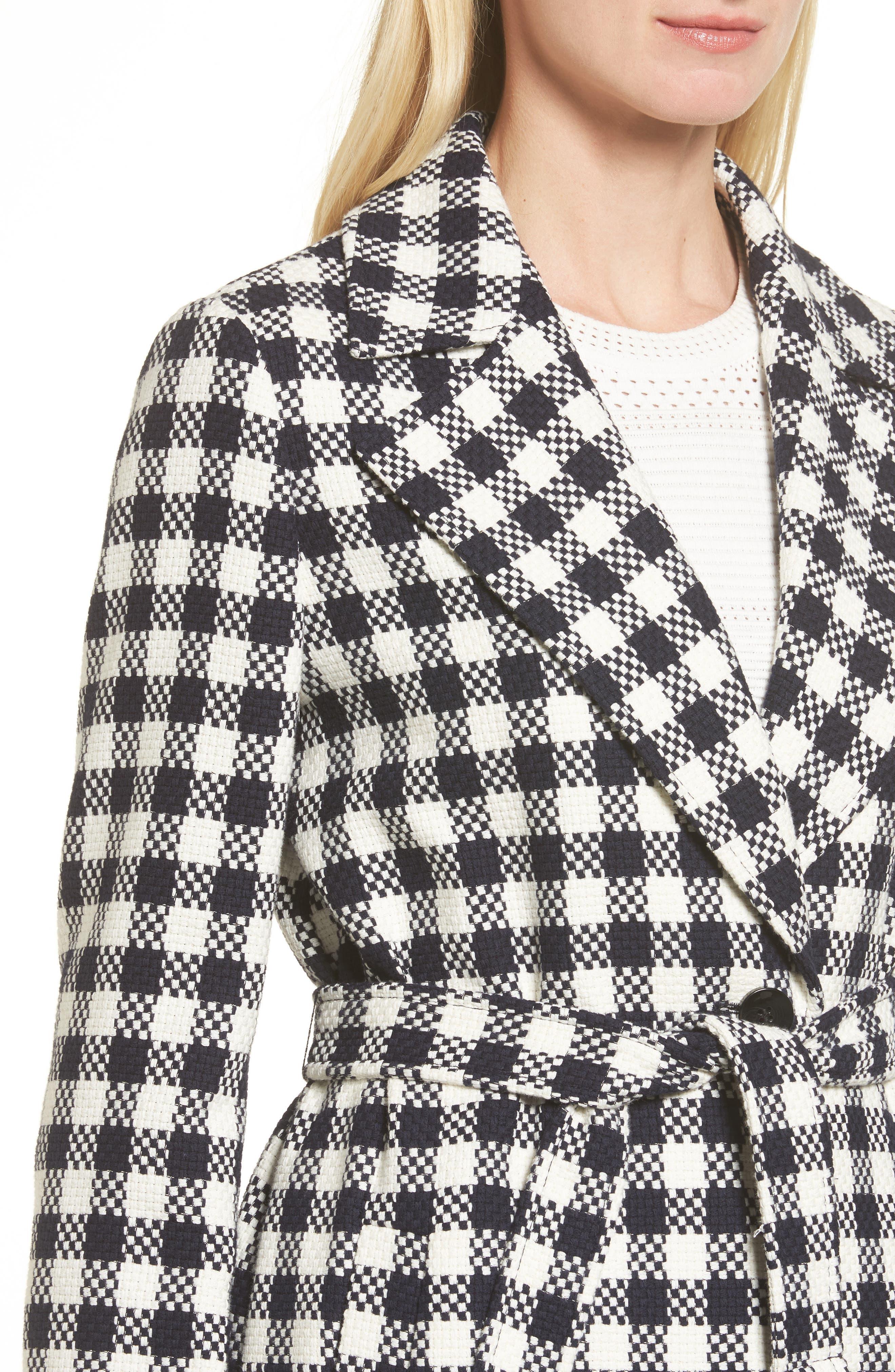 Cumarina Check Belted Check Coat,                             Alternate thumbnail 4, color,                             461