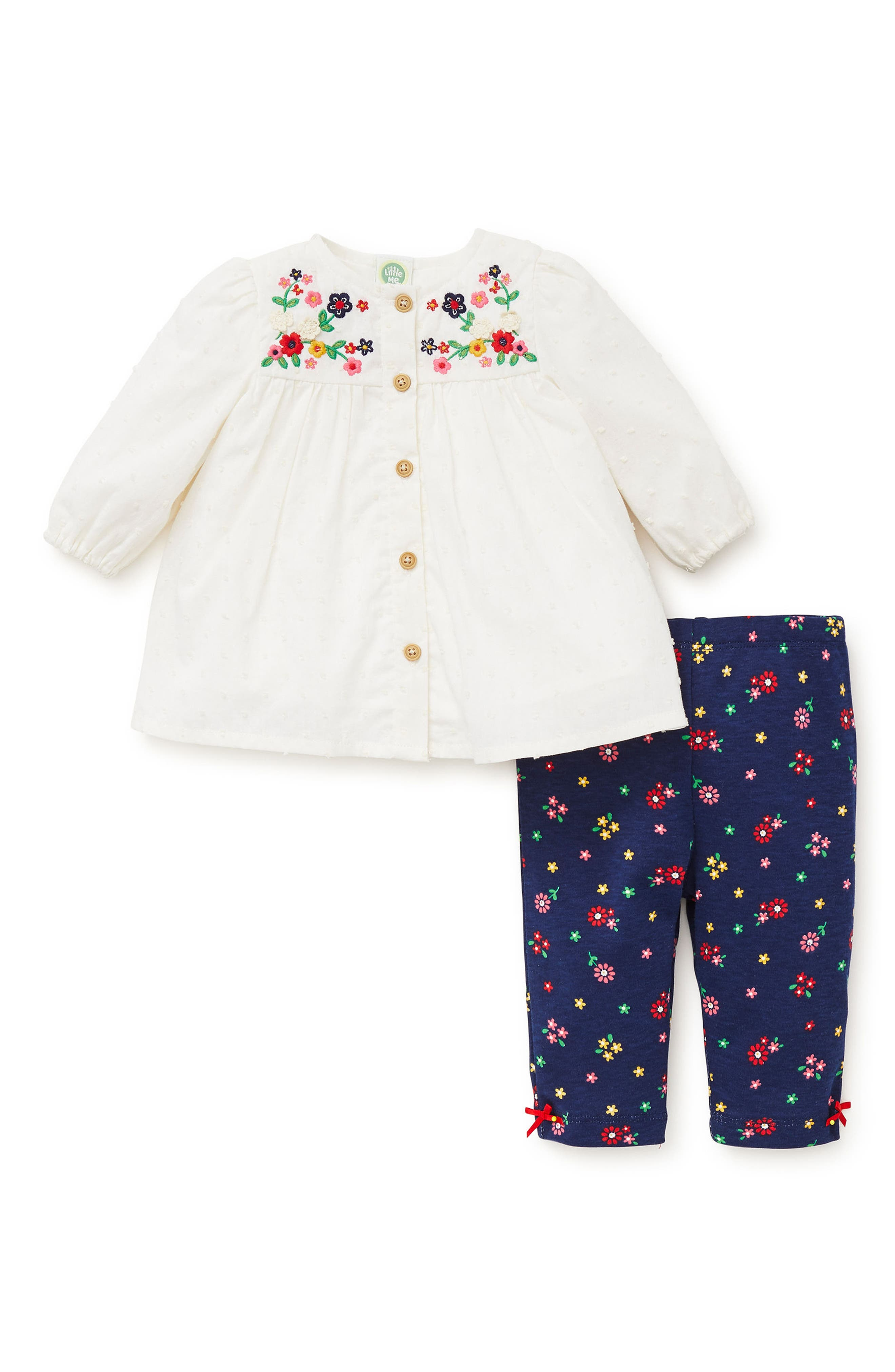 Floral Charm Embroidered Tunic & Leggings Set,                             Alternate thumbnail 2, color,                             479