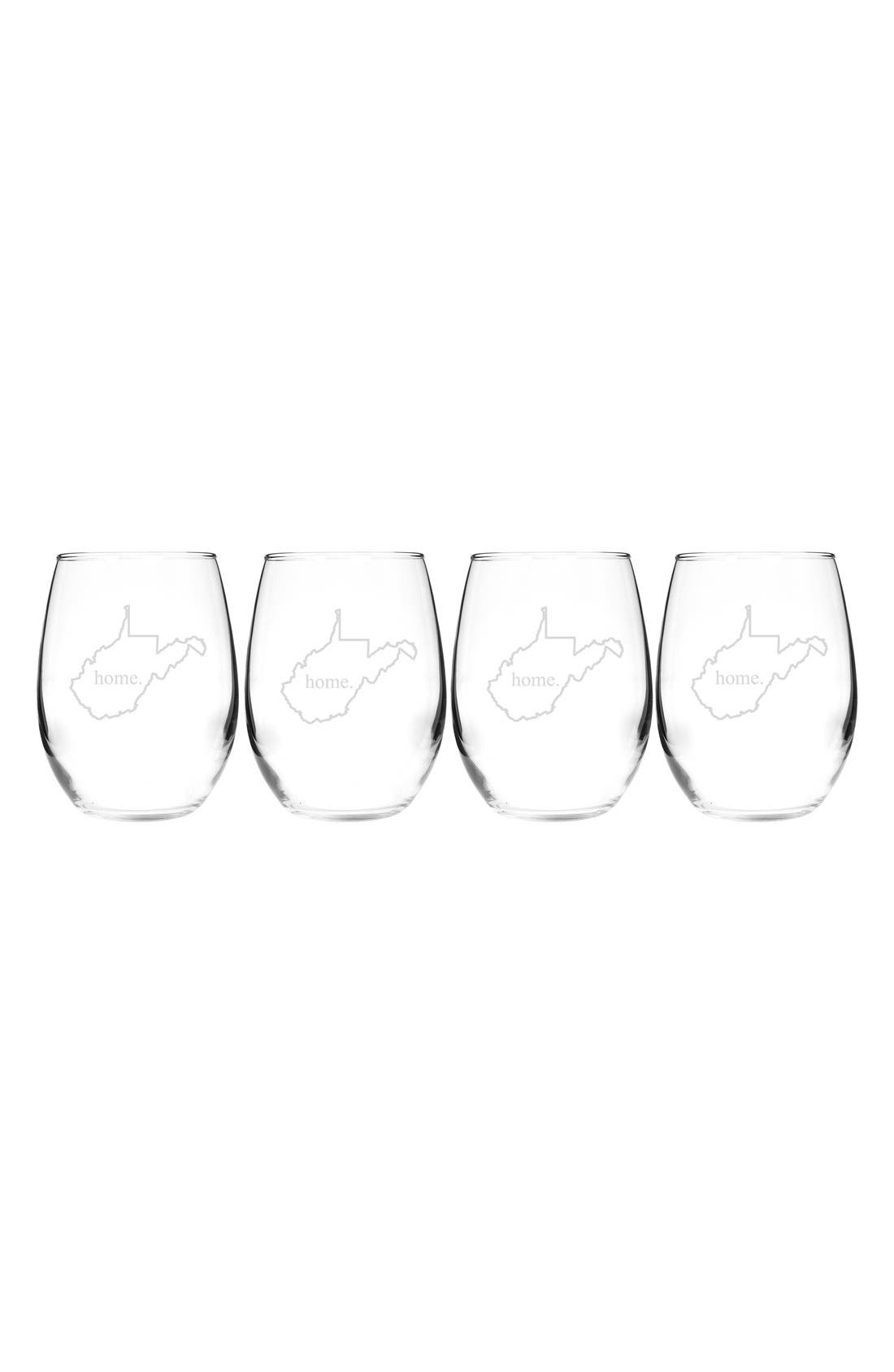 Home State Set of 4 Stemless Wine Glasses,                             Main thumbnail 49, color,