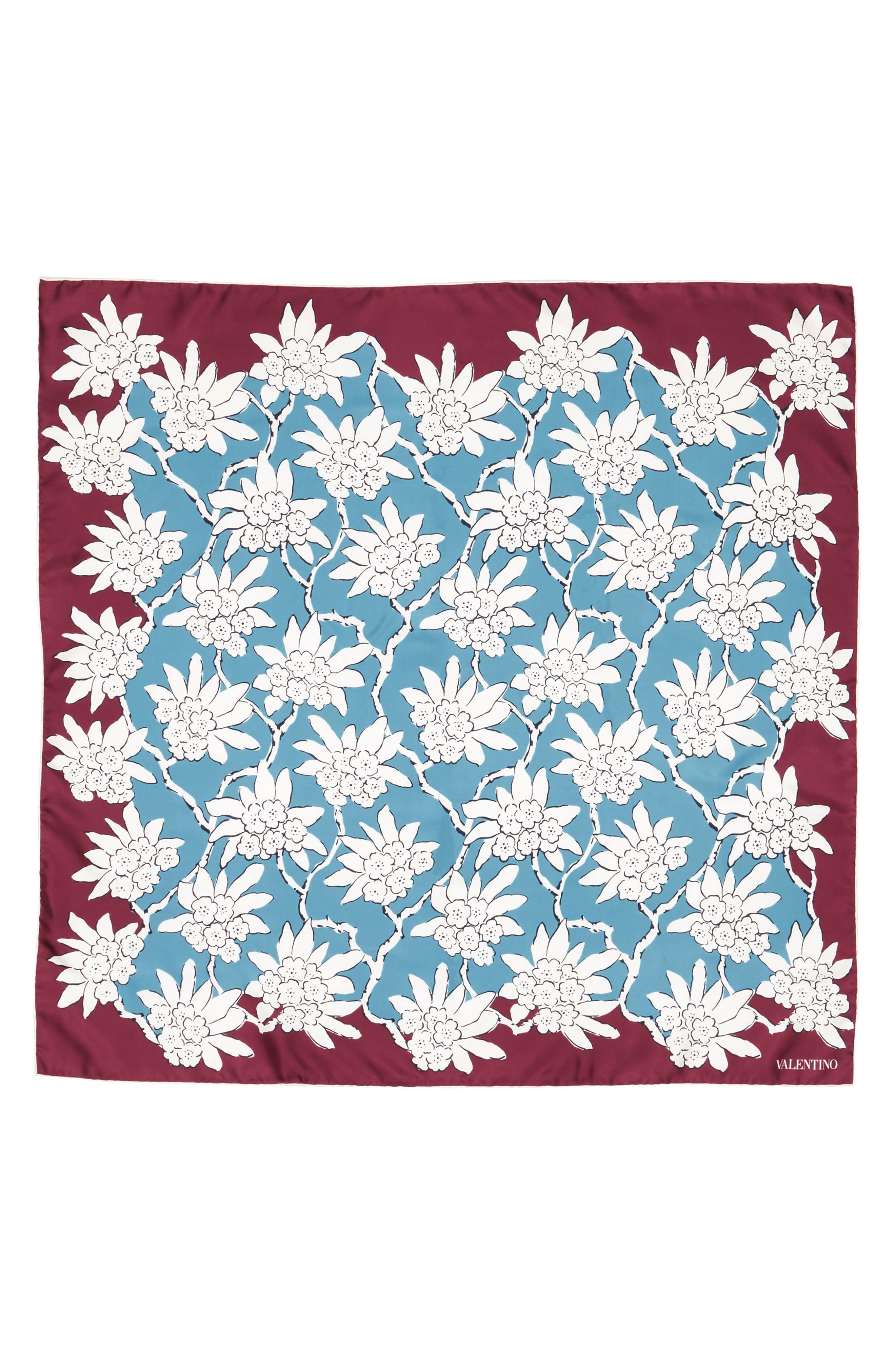 GARAVANI Rhododenron Square Silk Scarf,                             Main thumbnail 1, color,                             400