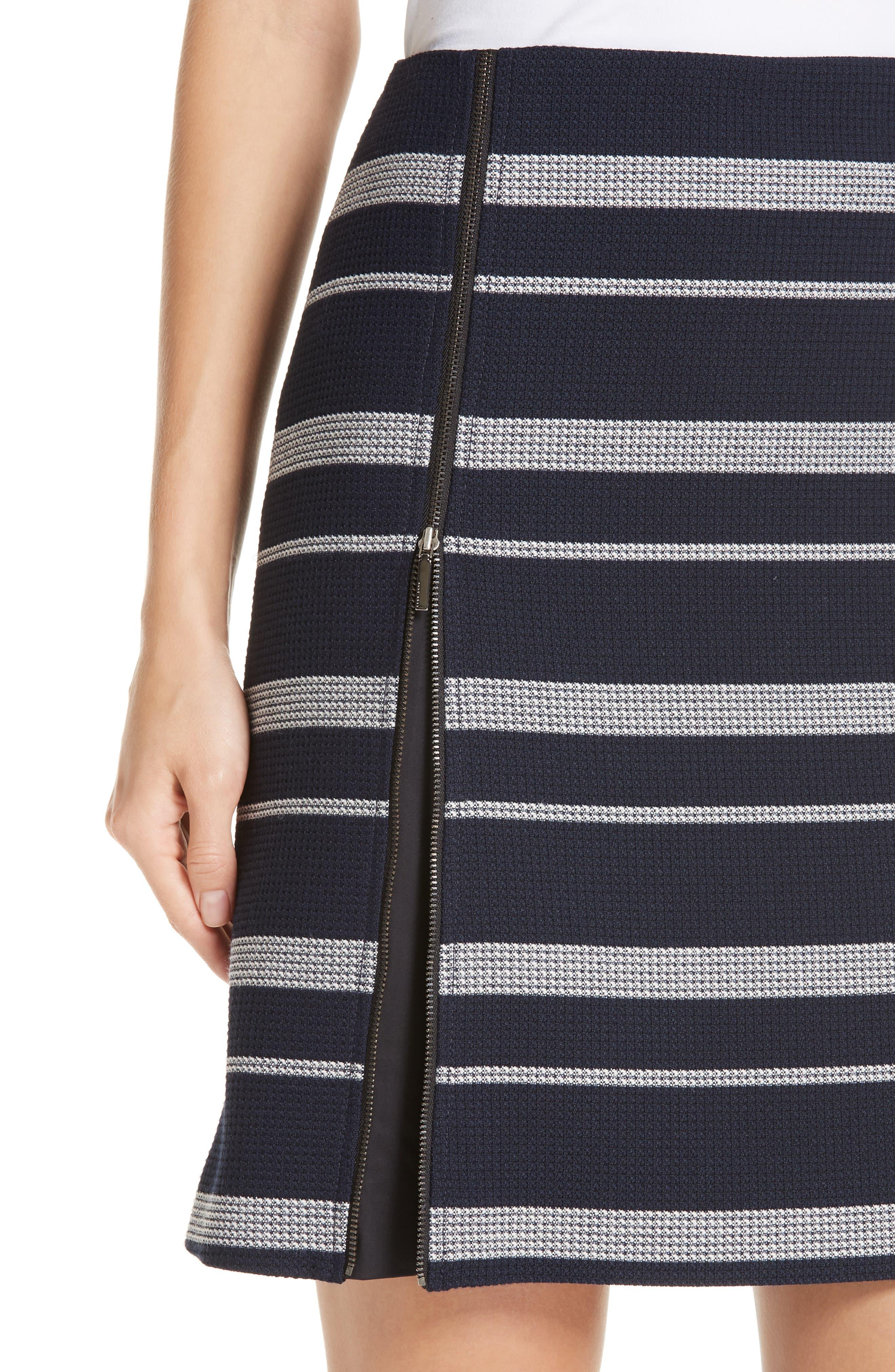 Stripe Jacquard Skirt,                             Alternate thumbnail 4, color,                             NAVY FANTASY