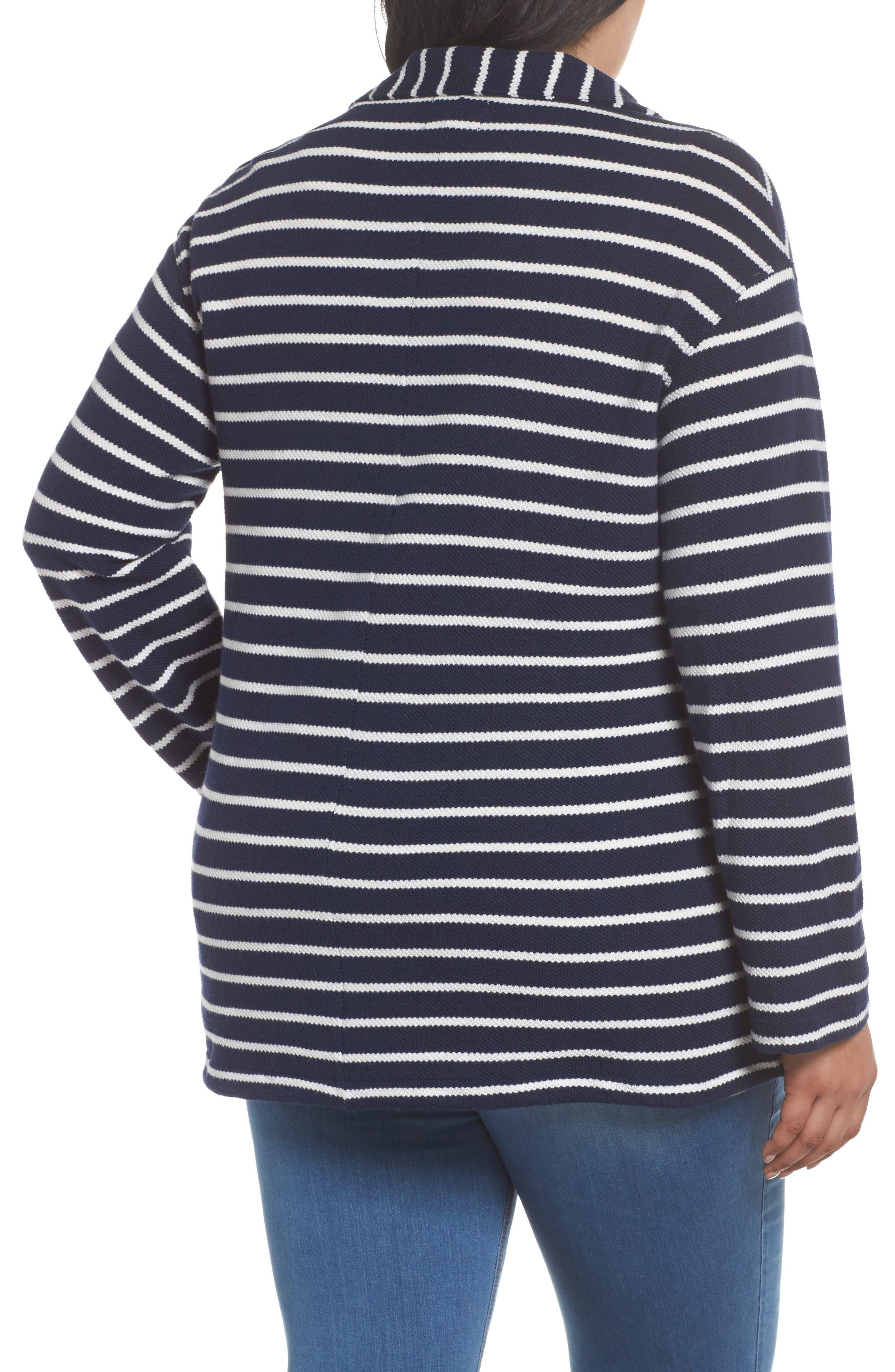Stripe Peacoat Knit Jacket,                             Alternate thumbnail 2, color,                             410