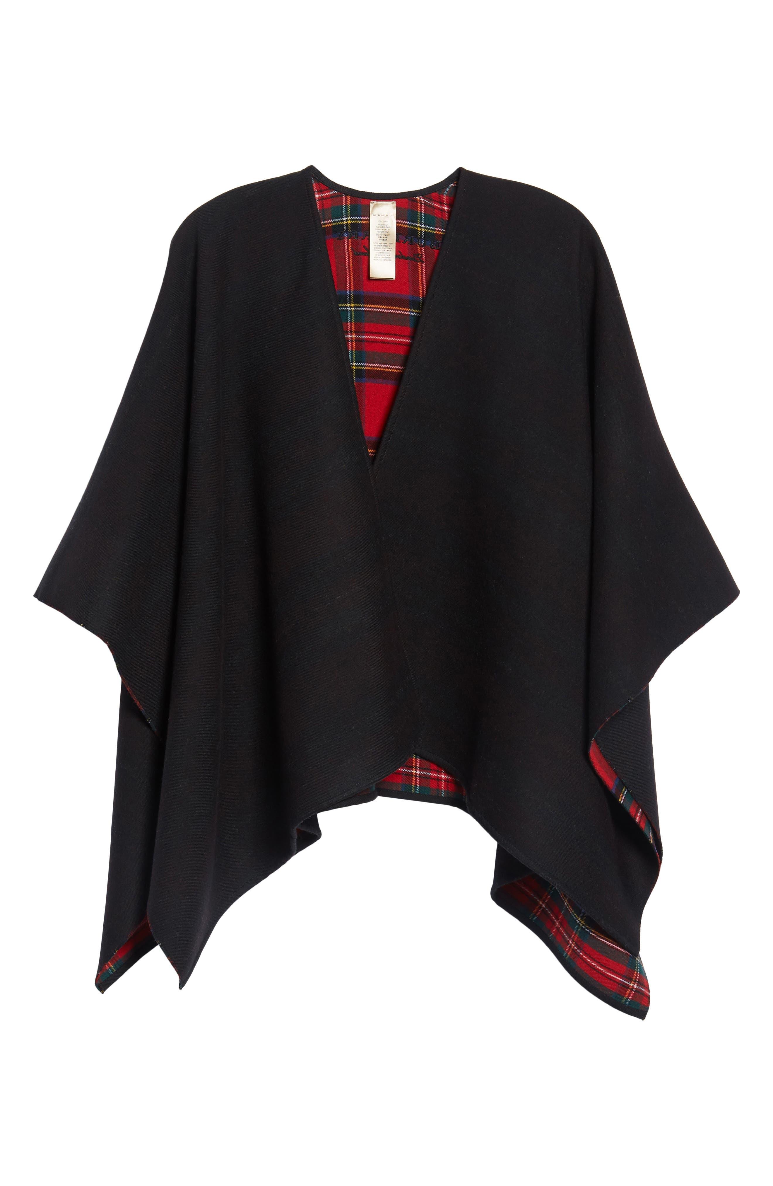Crop Reversible Merino Wool Cape,                             Alternate thumbnail 6, color,                             001